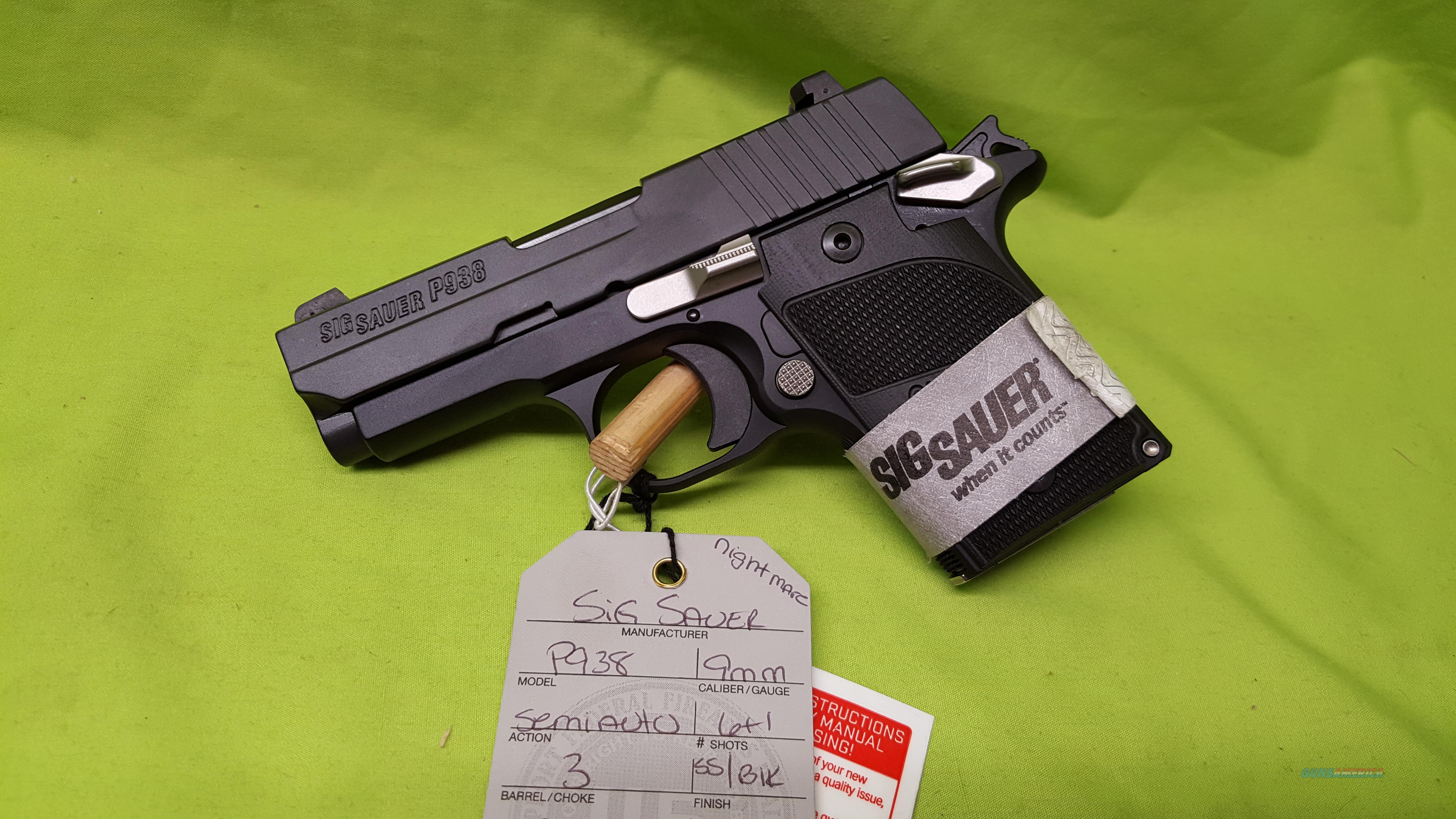 SIG SAUER P938 NIGHTMARE 9MM 9 MM 6RD SS BLACK 938  Guns > Pistols > Sig - Sauer/Sigarms Pistols > Other