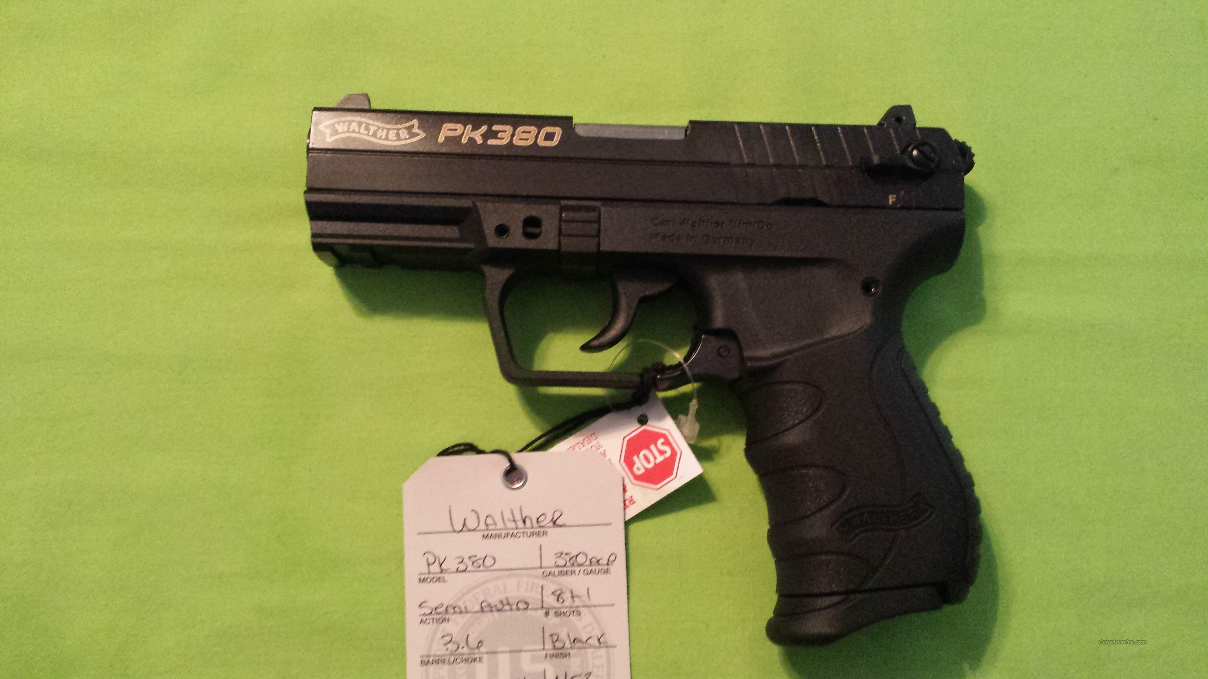 "WALTHER PK380 380ACP 380 ACP 3.6"" BLACK 8+1  Guns > Pistols > Walther Pistols > Post WWII > PK380"