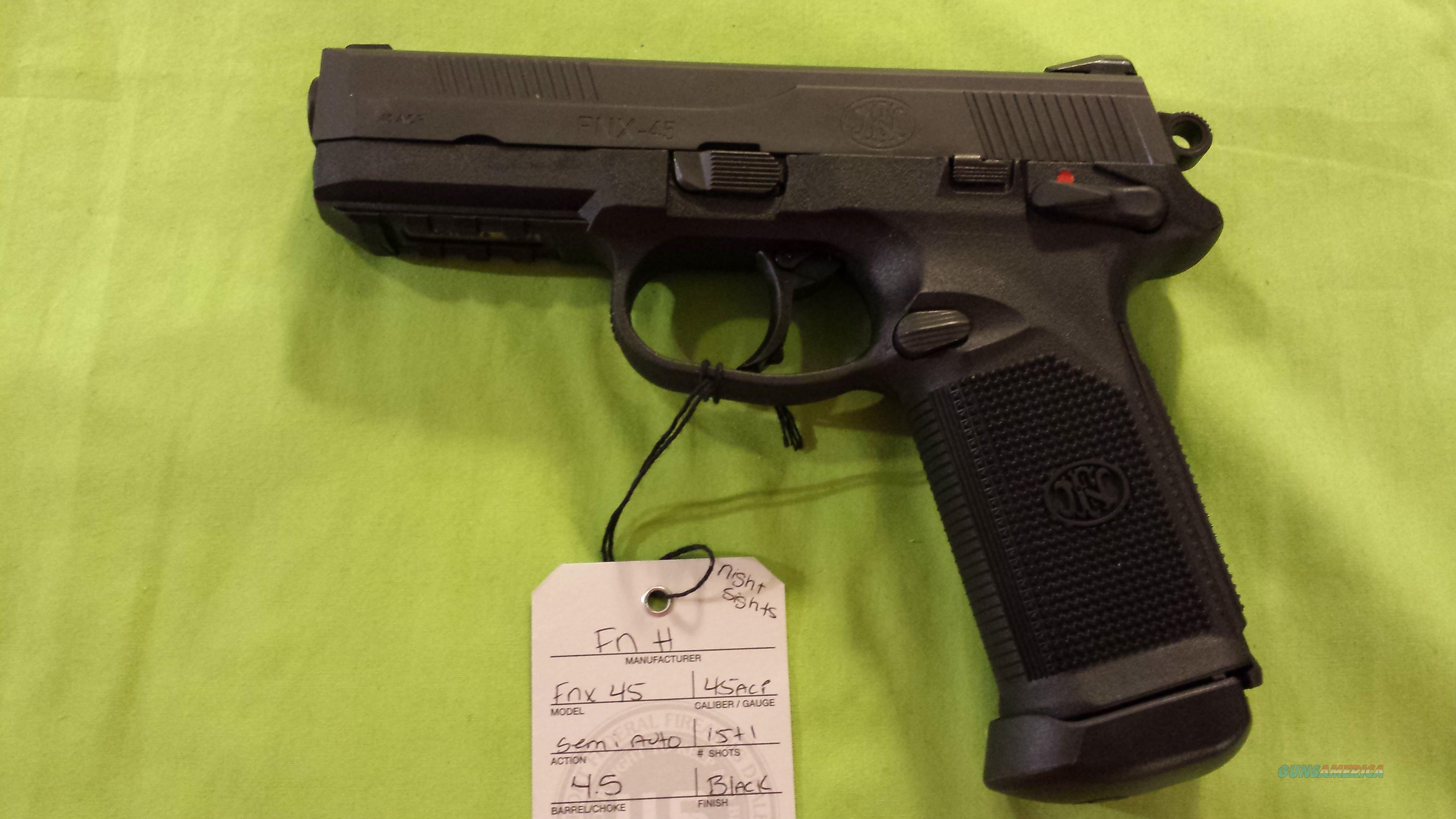 FN FNH FNX 45 DA/SA 15+1 MS BLK/BLK NIGHT SIGHT LE  Guns > Pistols > FNH - Fabrique Nationale (FN) Pistols > High Power Type