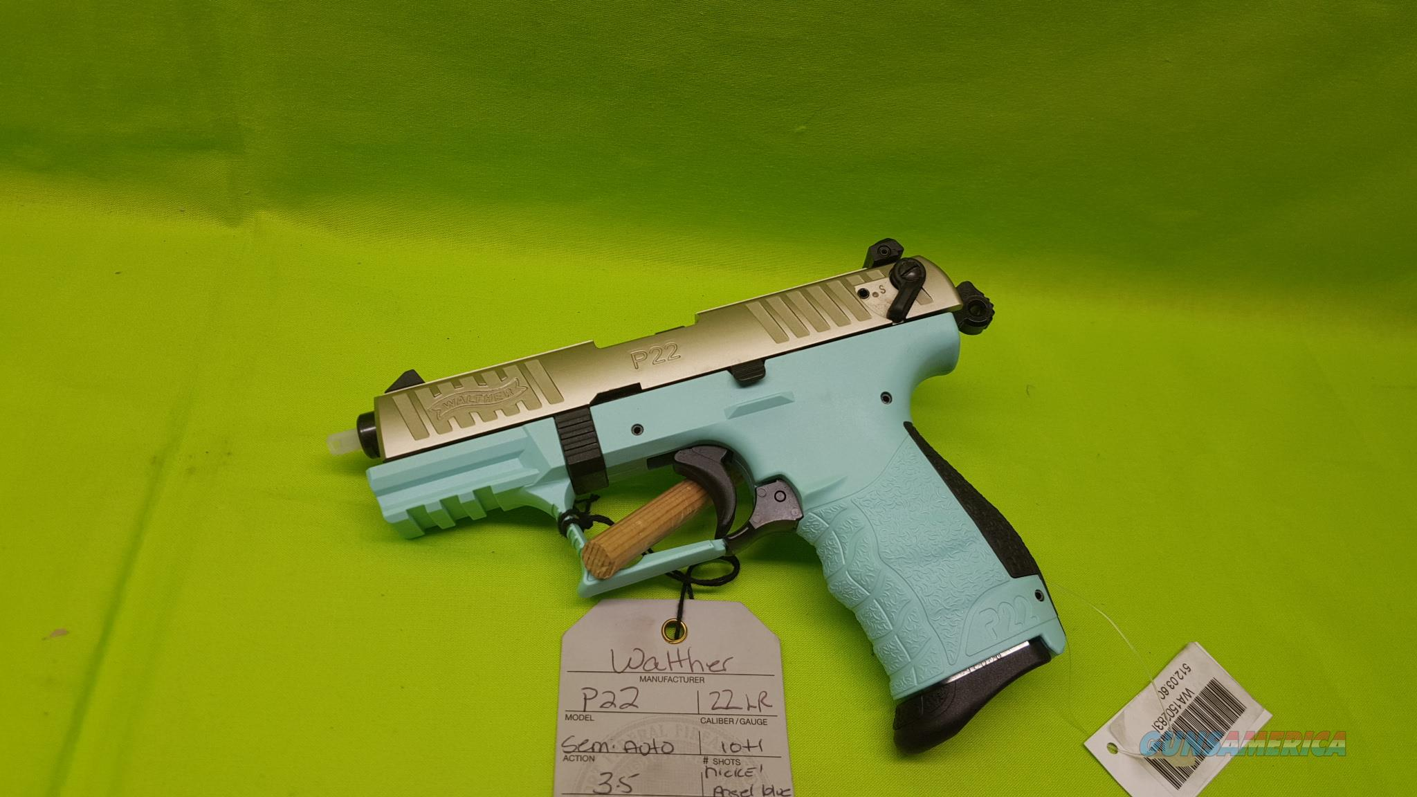 "WALTHER P22 22 LR 3.4"" NICKEL ANGEL BLUE THREADED  Guns > Pistols > Walther Pistols > Post WWII > P22"