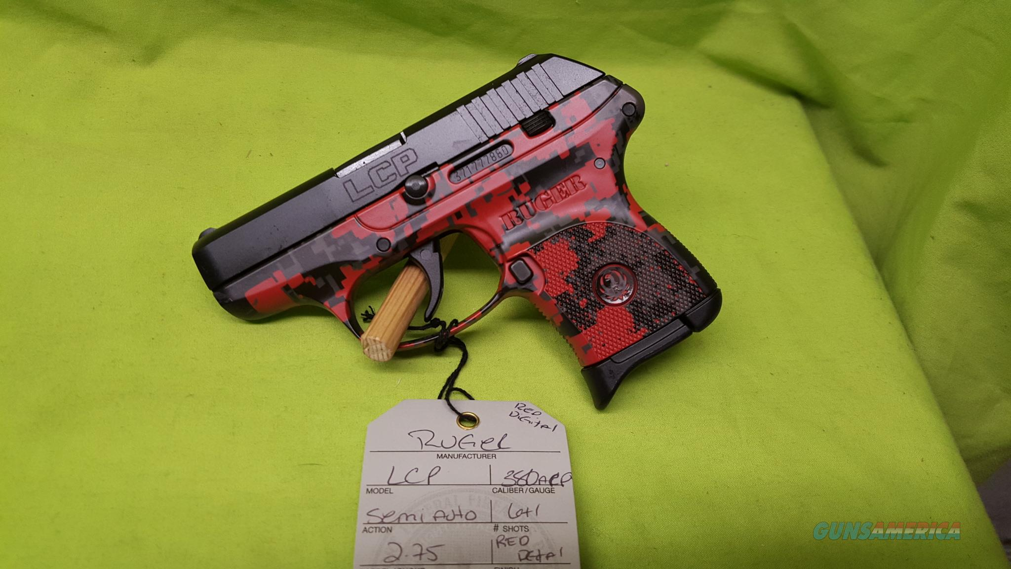 RUGER LCP RED DIGITAL CAMO 380 ACP 6RD 3749  Guns > Pistols > Ruger Semi-Auto Pistols > LCP