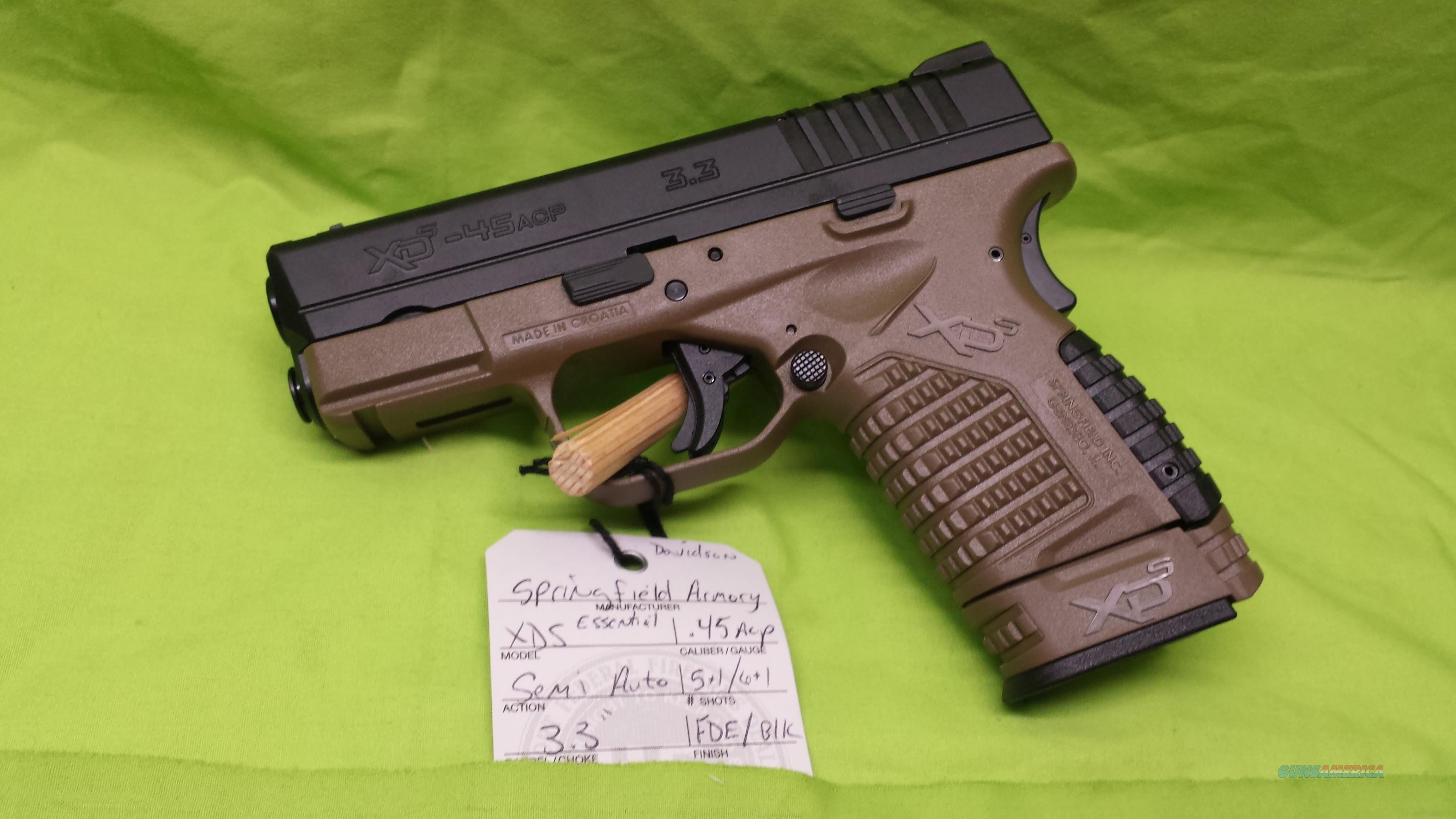 SPRINGFIELD XDS 45ACP 45 3.3 FDE 5RD 6RD ESS  Guns > Pistols > Springfield Armory Pistols > XD-S