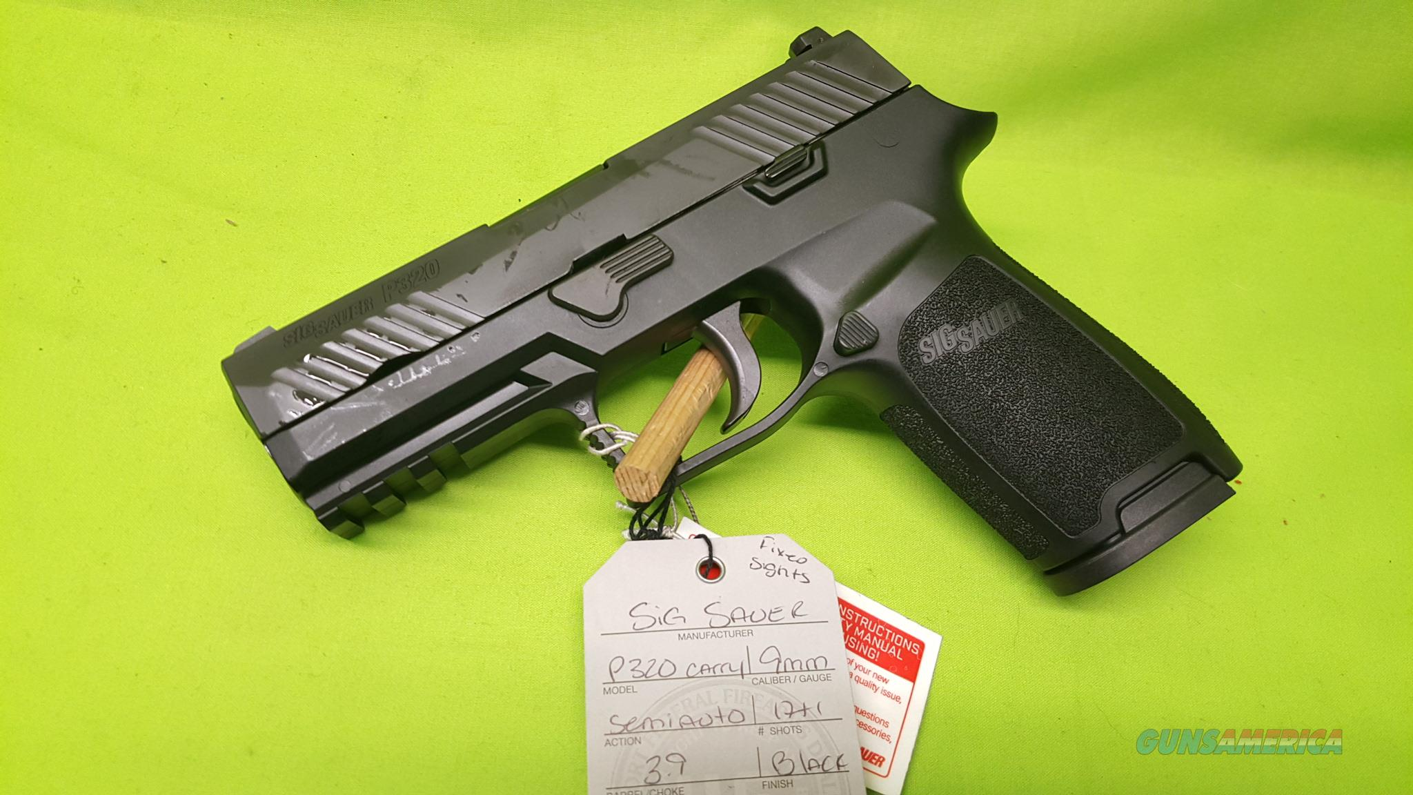 "SIG SAUER P320 CARRY 9 9MM 3.9"" 17RD FIXED SIGHTS  Guns > Pistols > Sig - Sauer/Sigarms Pistols > P320"