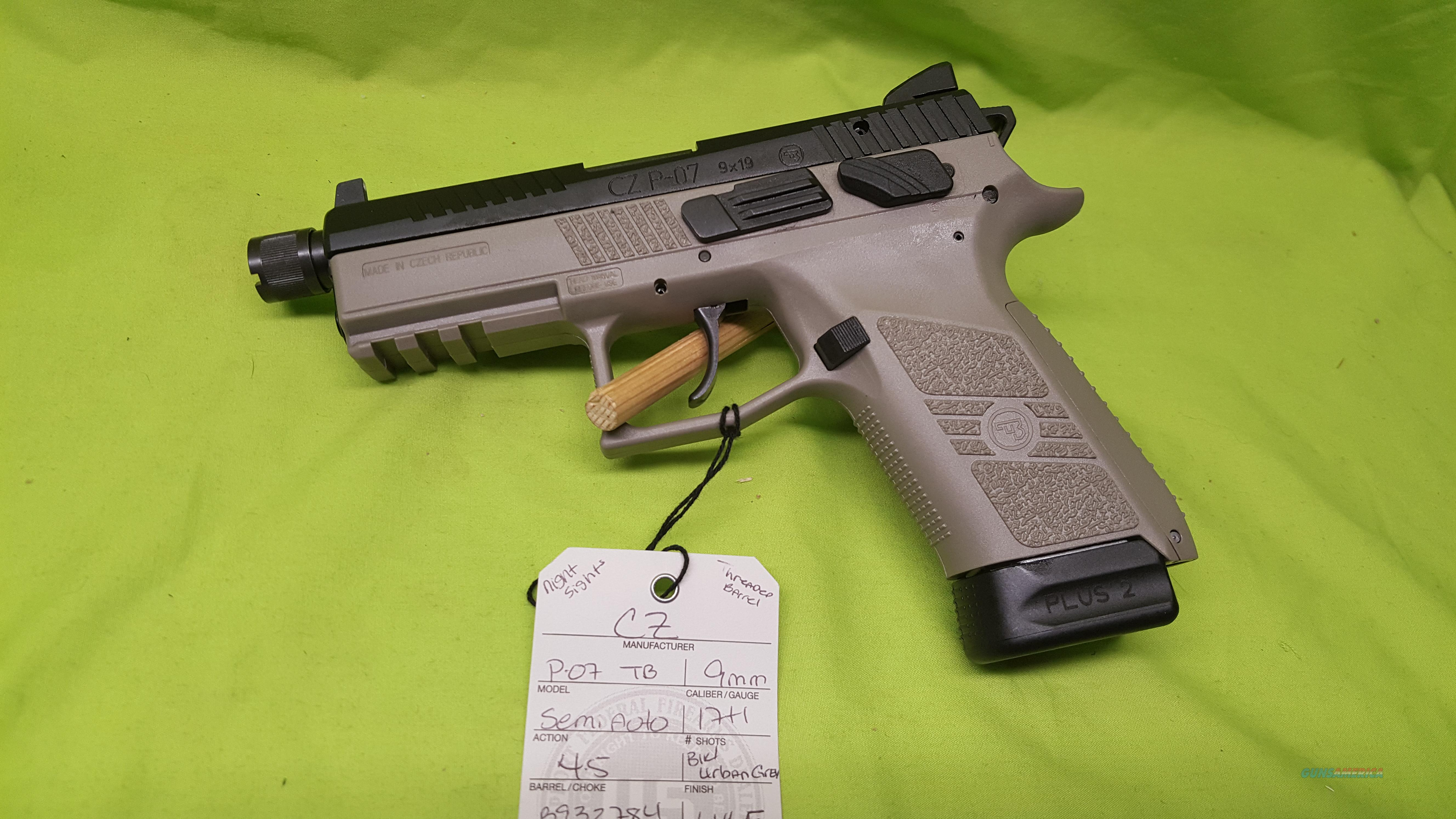 CZ P-07 P07 9 9MM GREY 17+1 THREAD NS 91288  Guns > Pistols > CZ Pistols