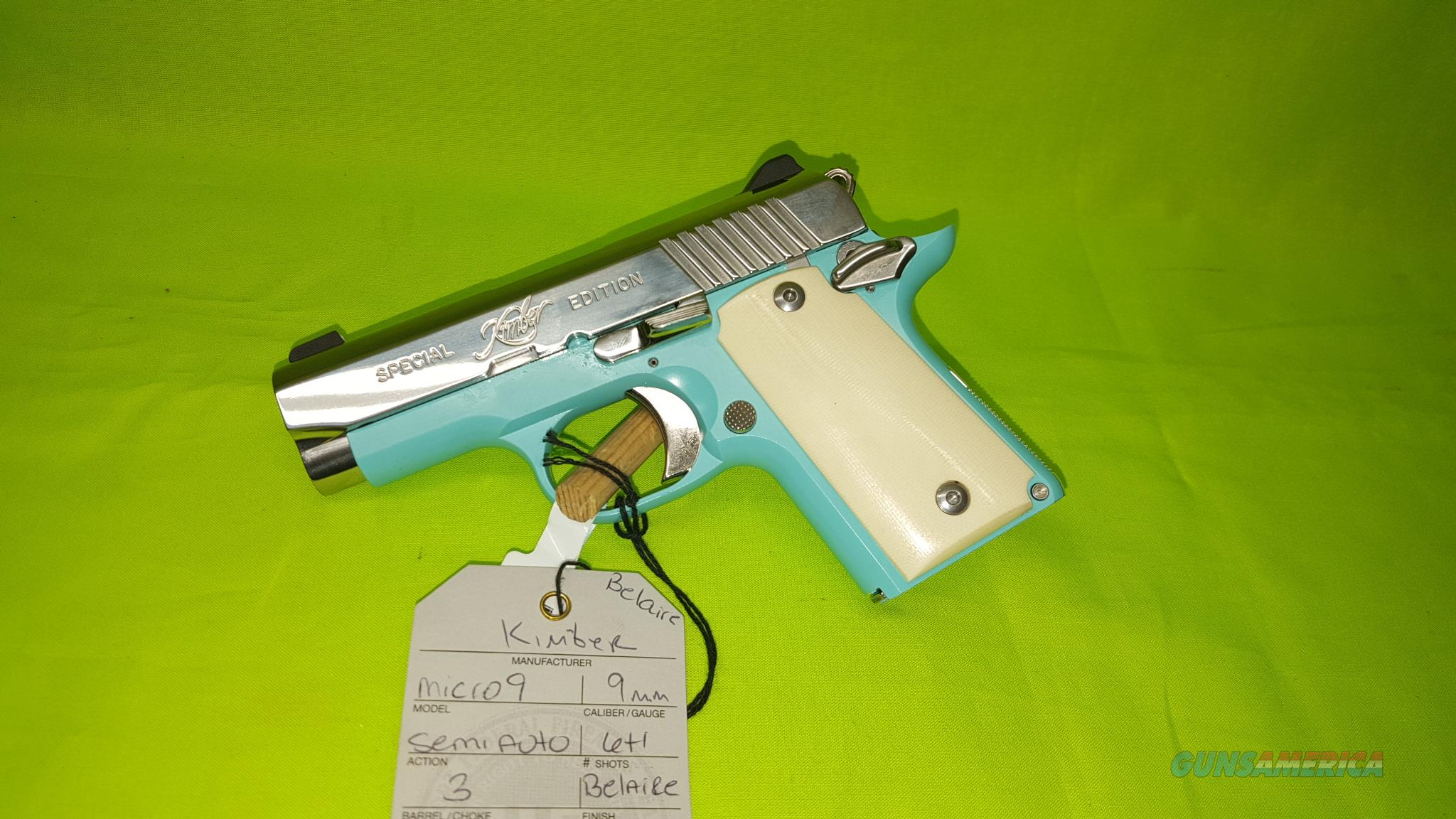 KIMBER MICRO 9 BEL AIRE 9MM BLUE SPECIAL BELAIRE Guns > Pistols >  Kimber of America Pistols > Micro 9