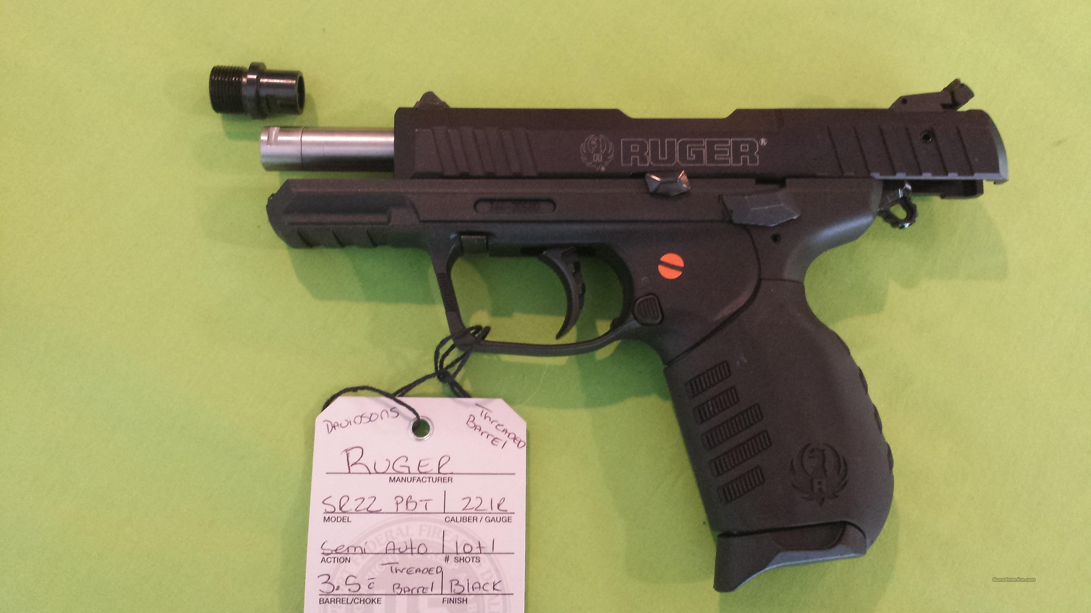 """RUGER SR22 SR 22 SR22PBT 22LR  3.5""""BARELL TREADED BARRELL  Guns > Pistols > Ruger Semi-Auto Pistols > SR Family > SR22"""