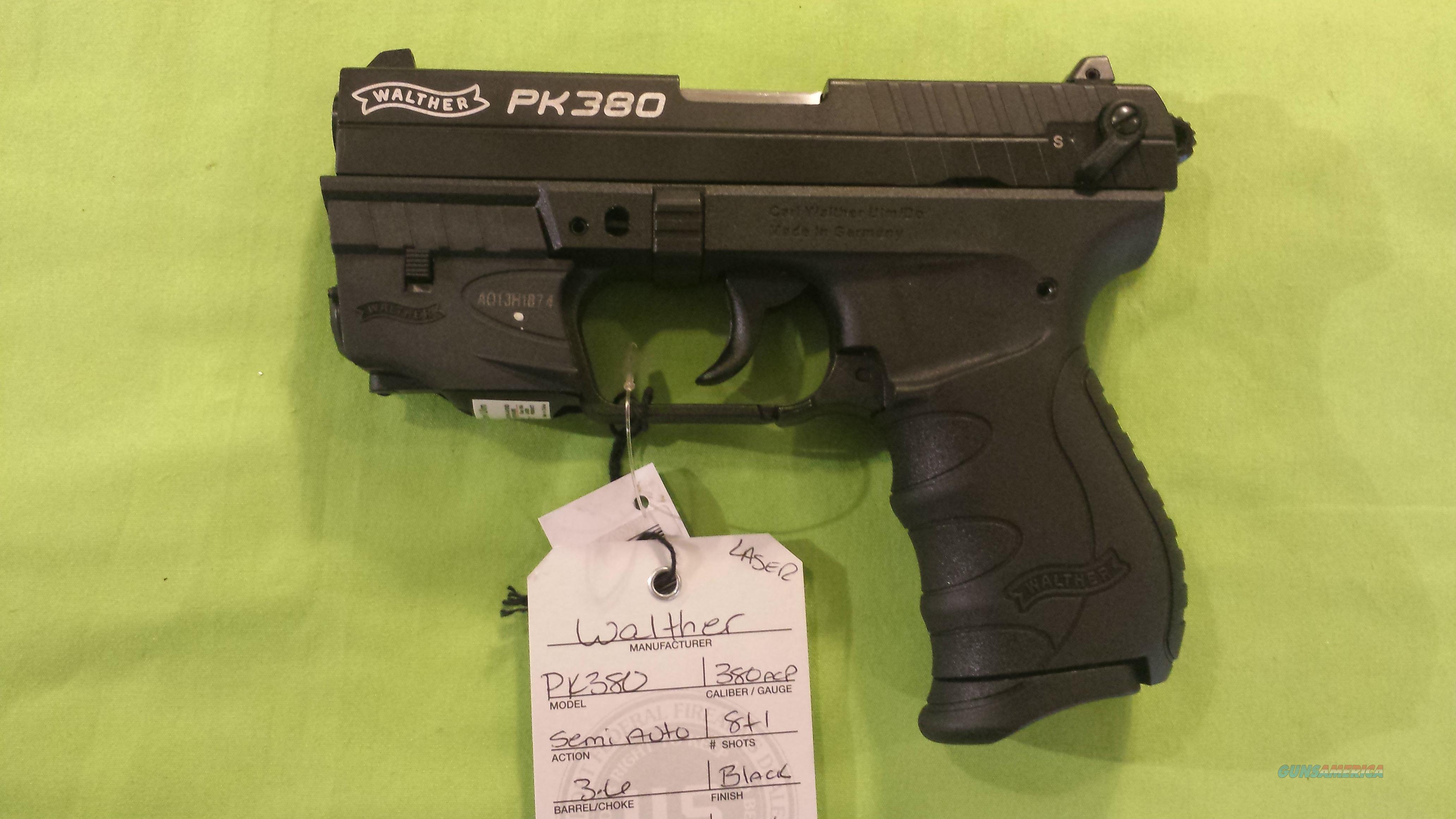 "WALTHER PK380 PK 380 380ACP 3.6"" BLACK W/ LASER  Guns > Pistols > Walther Pistols > Post WWII > PK380"