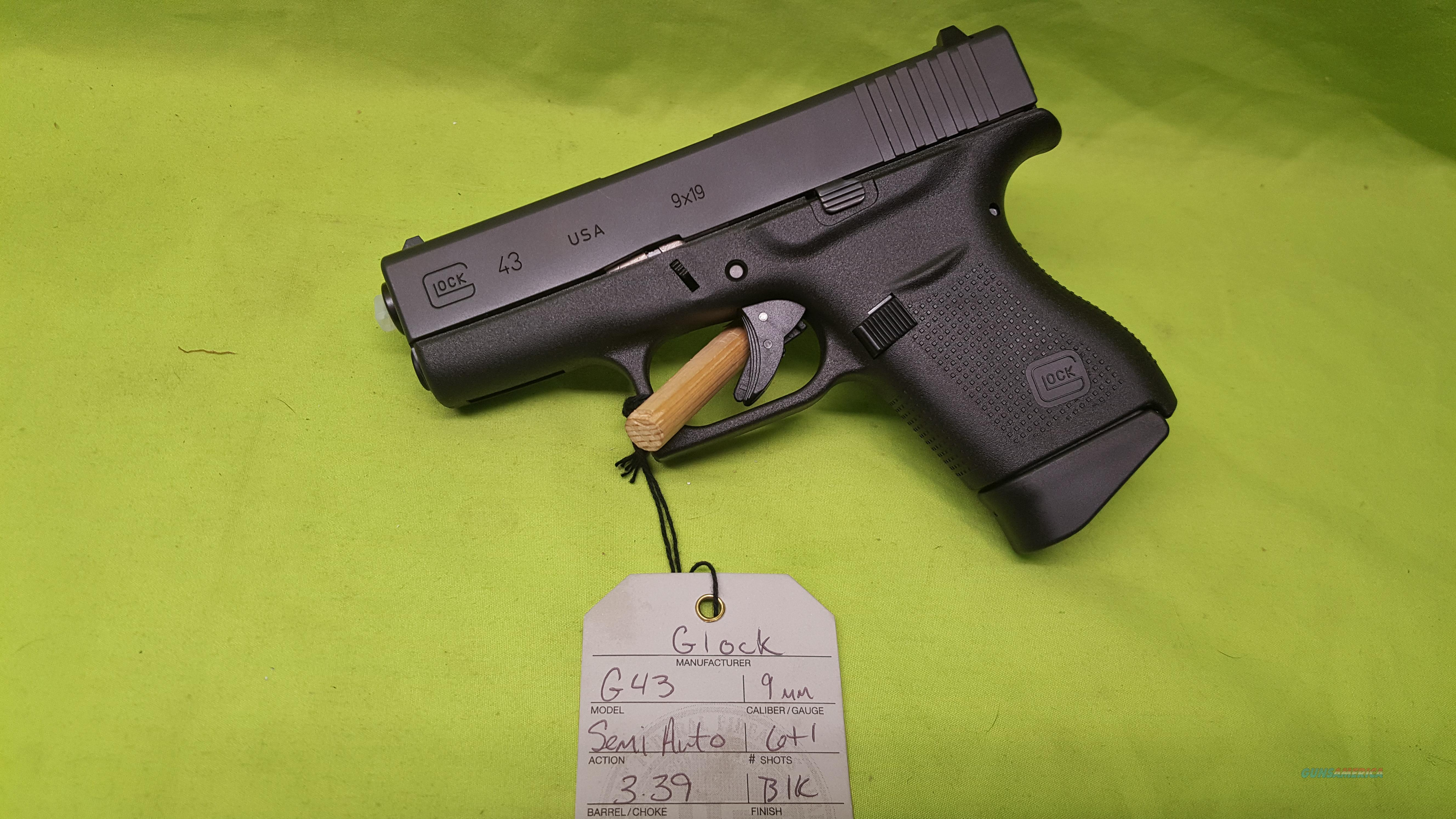 "NIB GLOCK 43 9 9MM 6RD DAO 3.25"" SINGLE STACK SLIM  Guns > Pistols > Glock Pistols > 42"