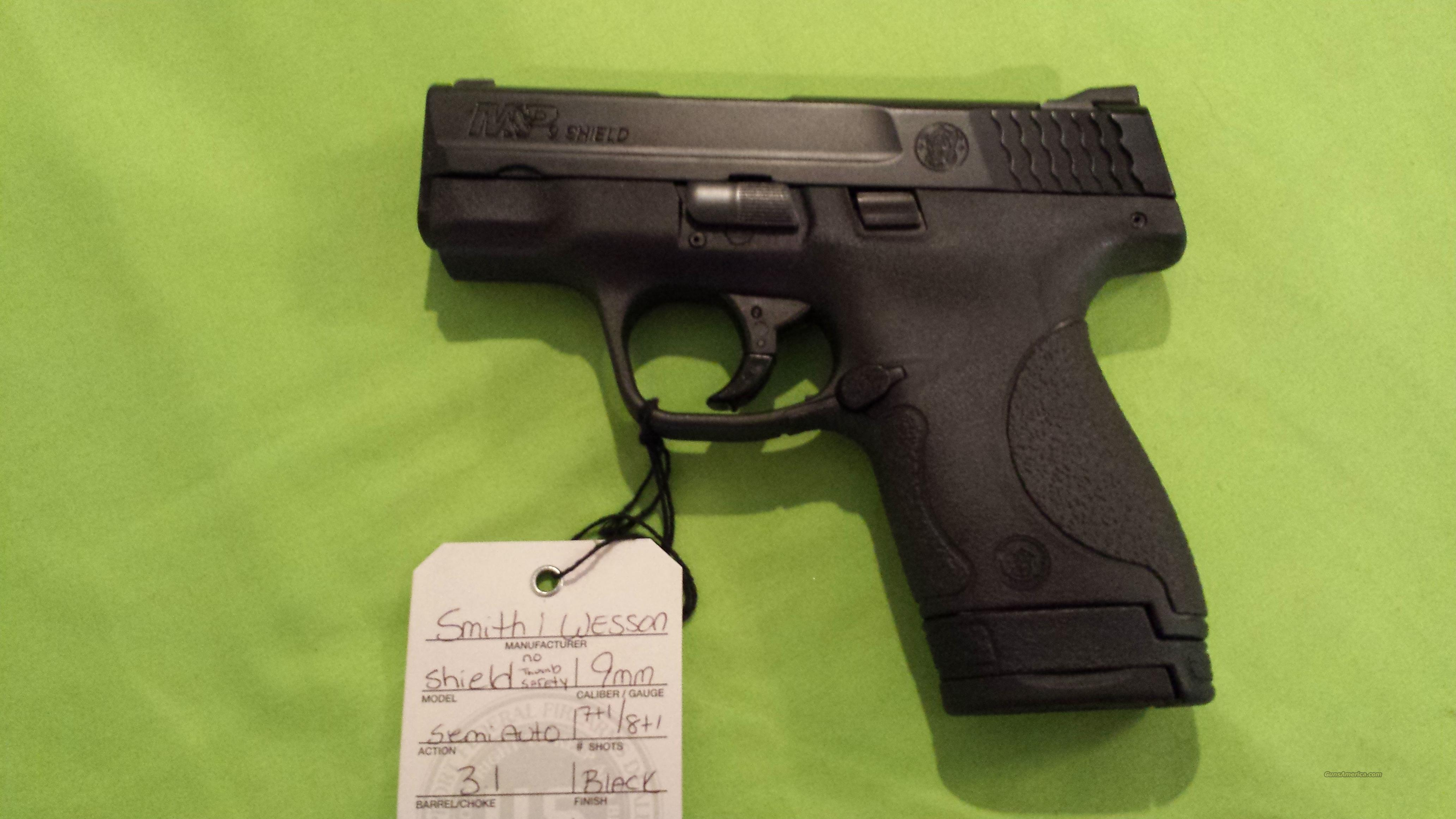 SMITH & WESSON M&P 9 SHIELD 9MM 7/8RD NO SAFETY  Guns > Pistols > Smith & Wesson Pistols - Autos > Shield
