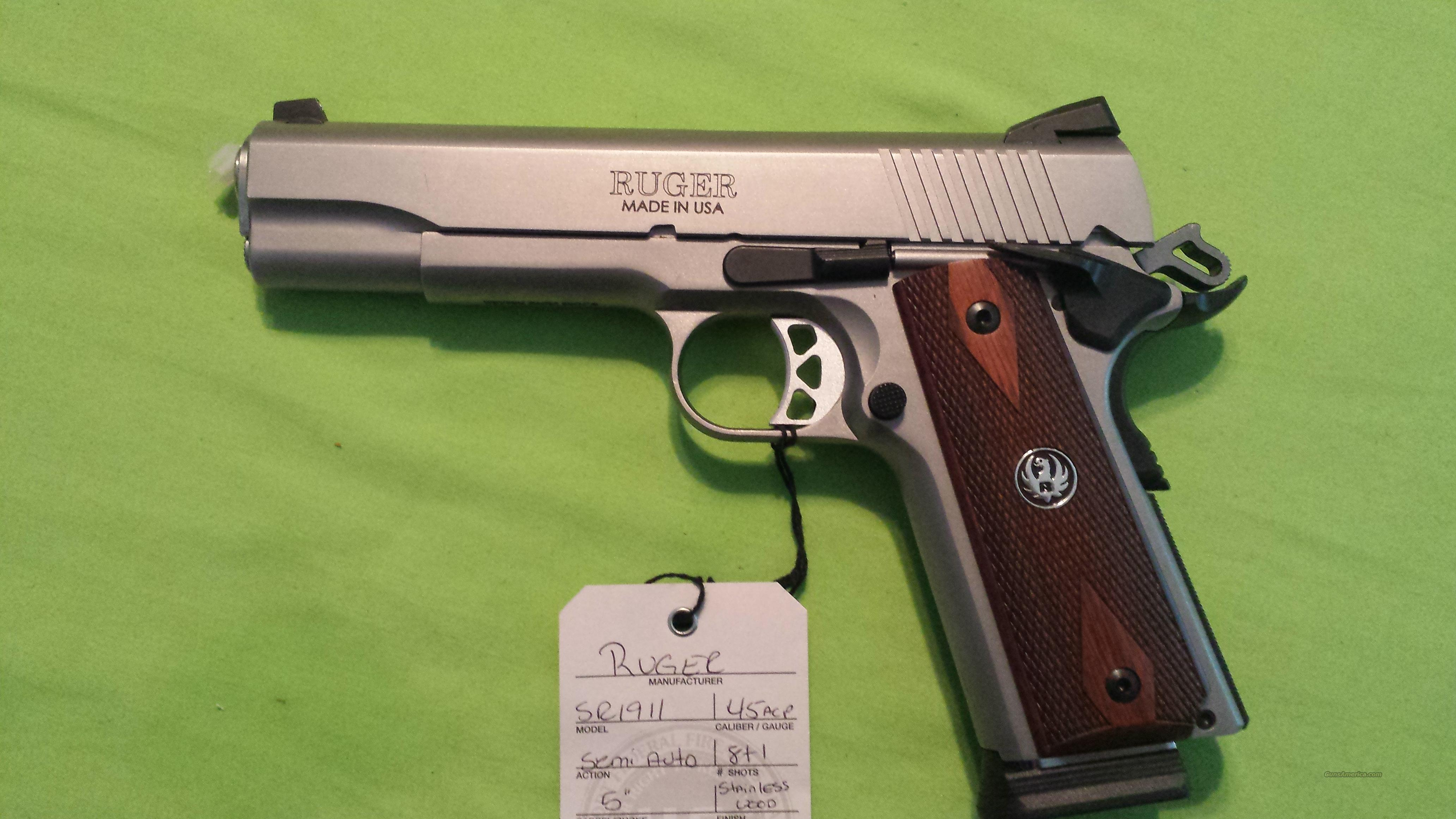 Ruger Sr1911 Sr 1911 45 Acp 5 Stainless 2 Mags For Sale