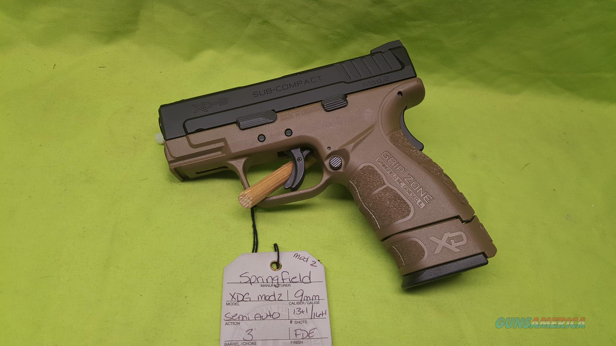 "SPRINGFIELD XD XDG MOD 2 9MM 3"" FDE 13/16RD  Guns > Pistols > Springfield Armory Pistols > XD (eXtreme Duty)"