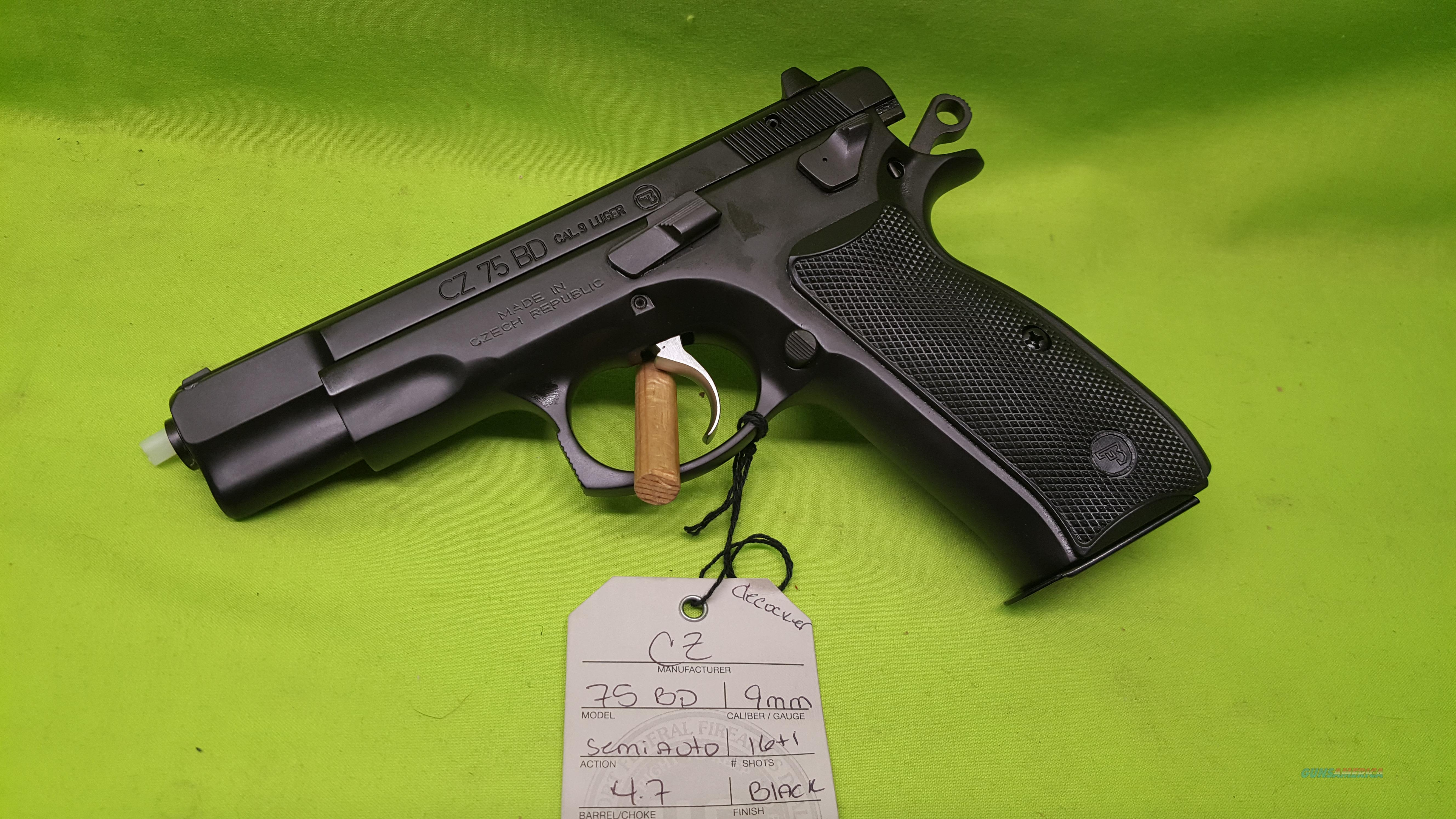 CZ 75 BD 75BD 9MM 9 MM DECOCKER BLACK 2-16RD 91130  Guns > Pistols > CZ Pistols