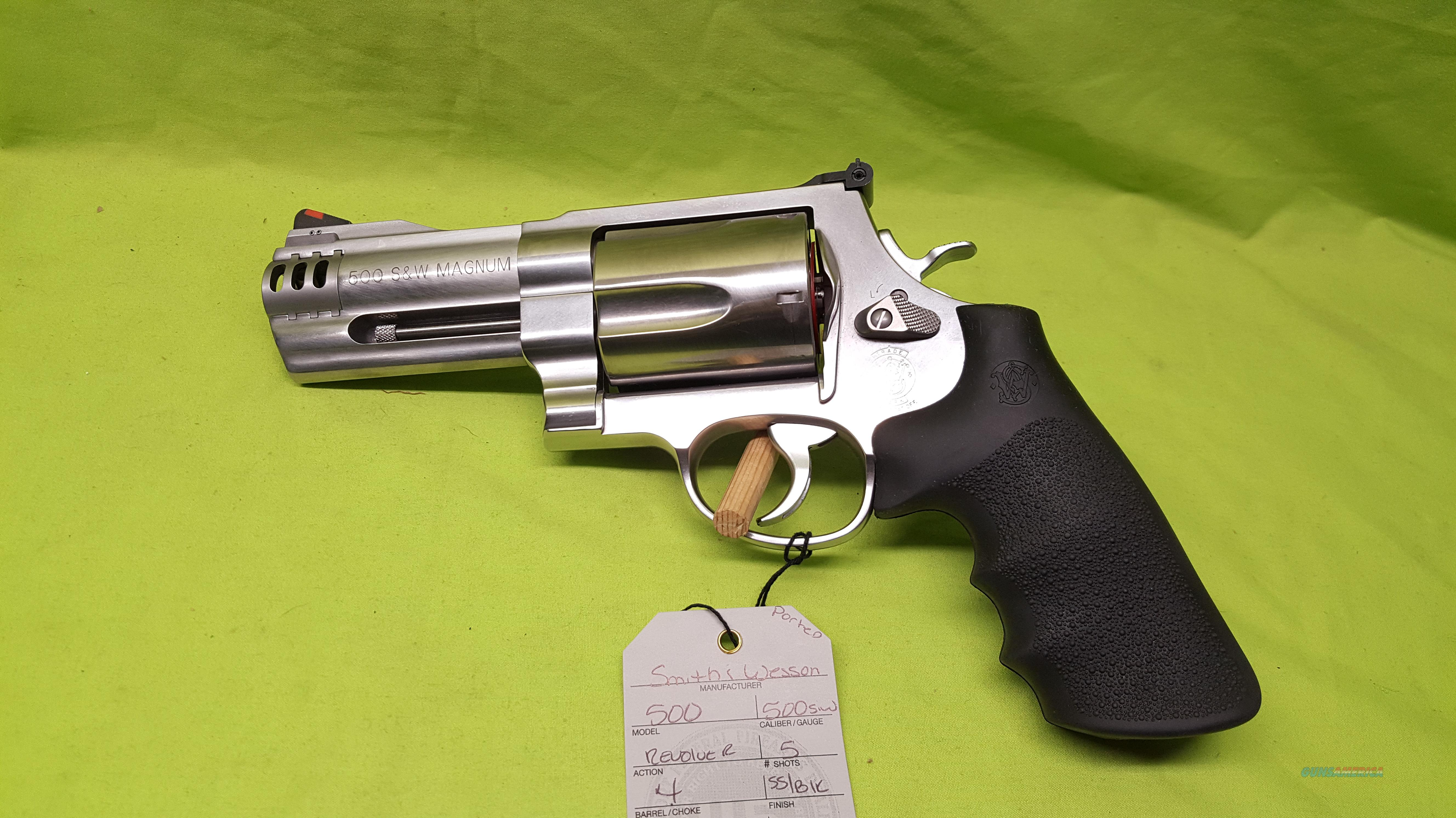 "S&W SMITH AND WESSON 500 500S&W 4"" PORTED SS 5RD  Guns > Pistols > Smith & Wesson Revolvers > Full Frame Revolver"