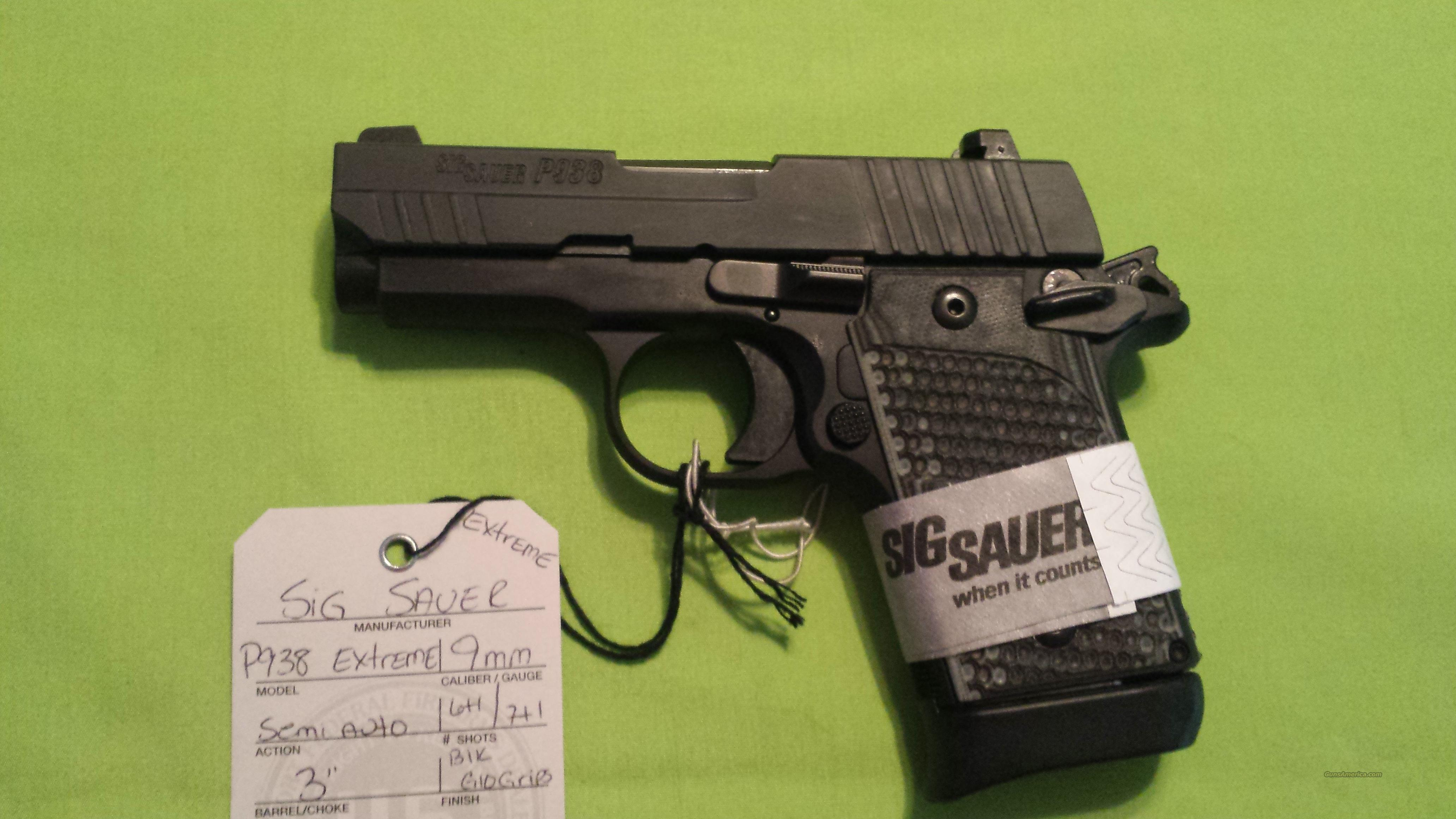 "SIG SAUER P938 EXTREME 9MM 7RD 3"" BLK NS G10  Guns > Pistols > Sig - Sauer/Sigarms Pistols > 1911"
