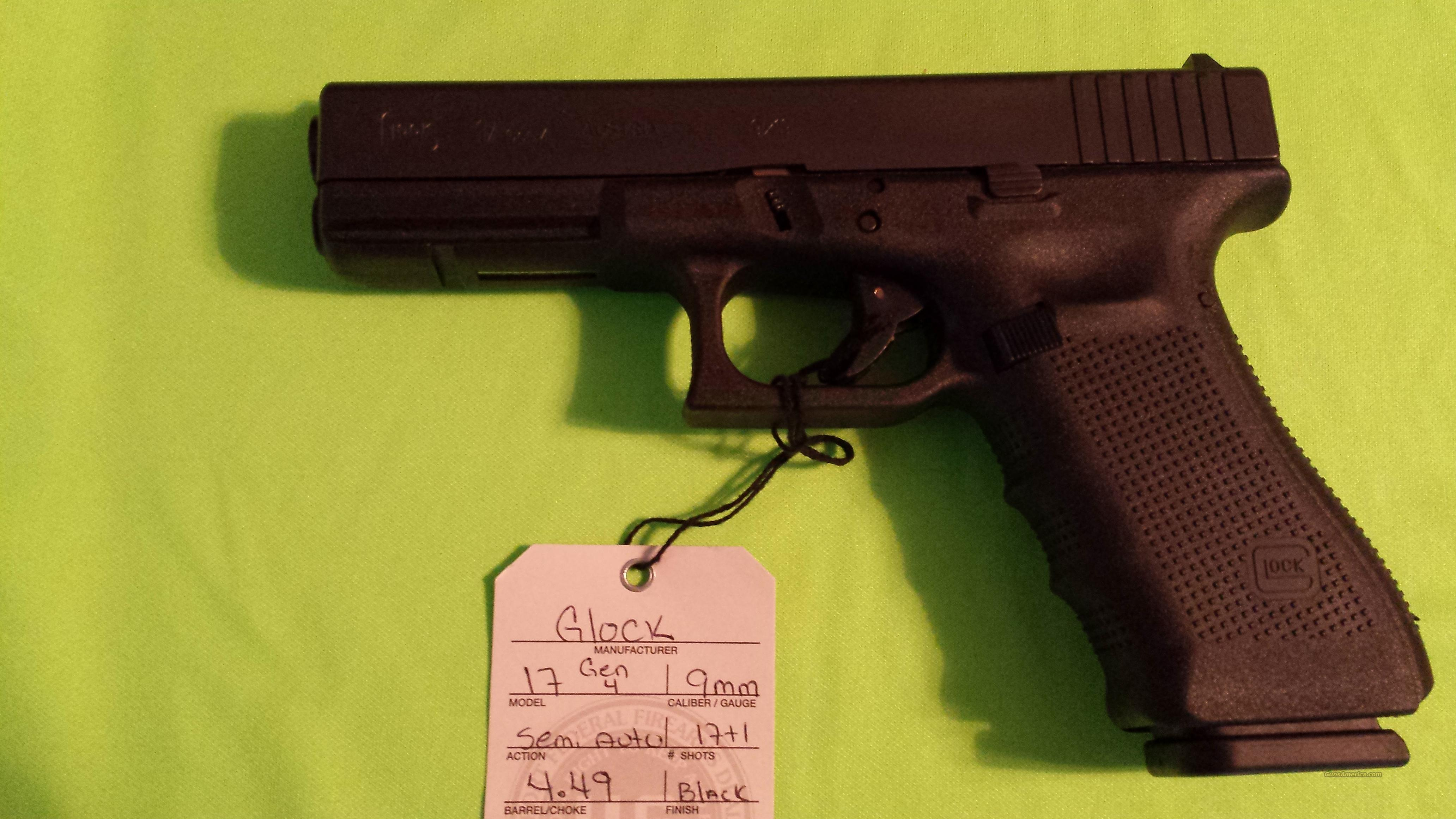GLOCK 17 GEN 4 9MM 9 FIXED SIGHTS 17RD 3 MAGS  Guns > Pistols > Glock Pistols > 17