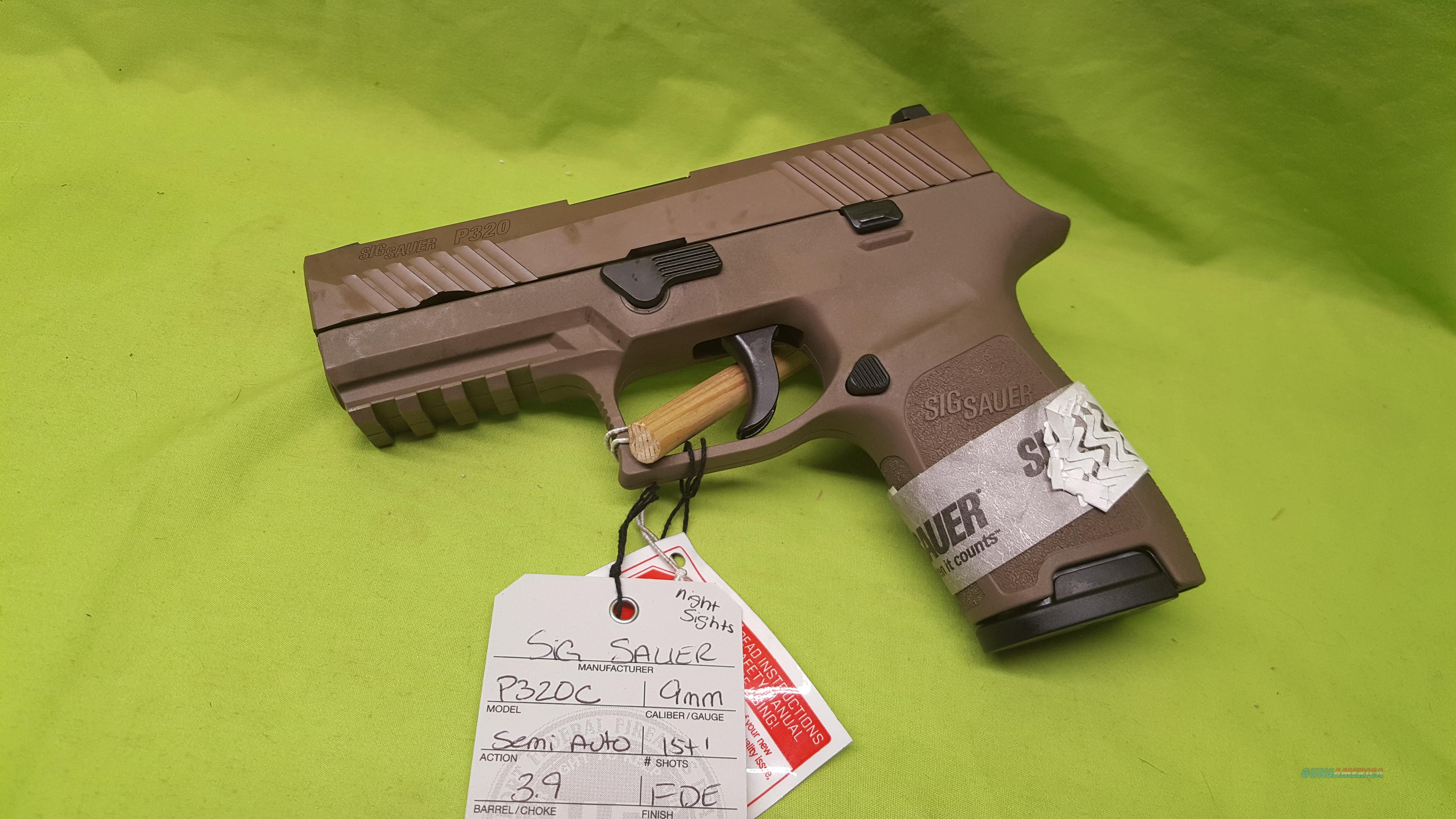 SIG P320 C COMPACT 9MM 9 FDE NS 3.9 15RD STRIKER  Guns > Pistols > Sig - Sauer/Sigarms Pistols > P320