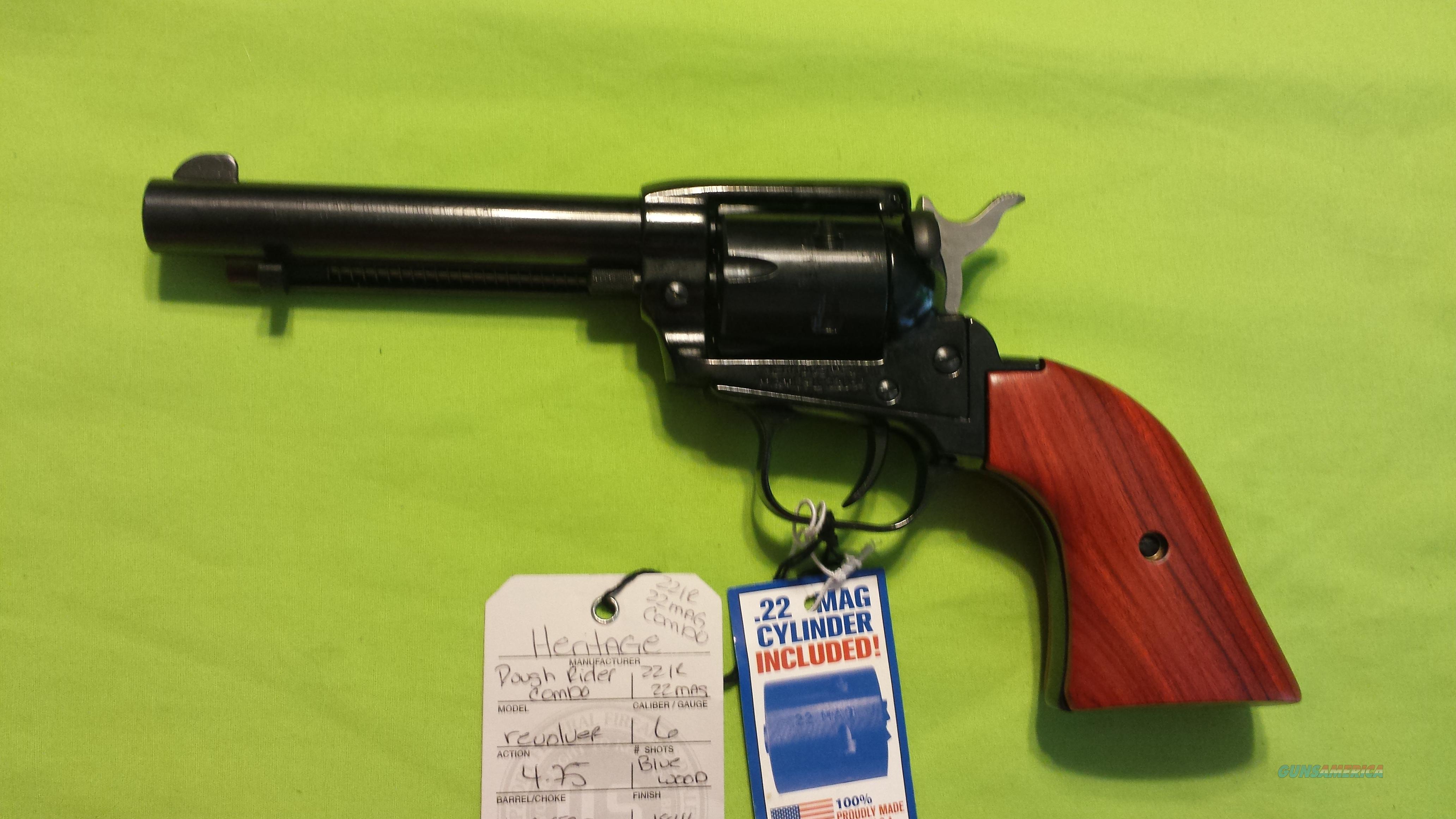 "HERITAGE ROUGH RIDER 22LR / 22MAG 4.75"" BLUE/WOOD  Guns > Pistols > H Misc Pistols"