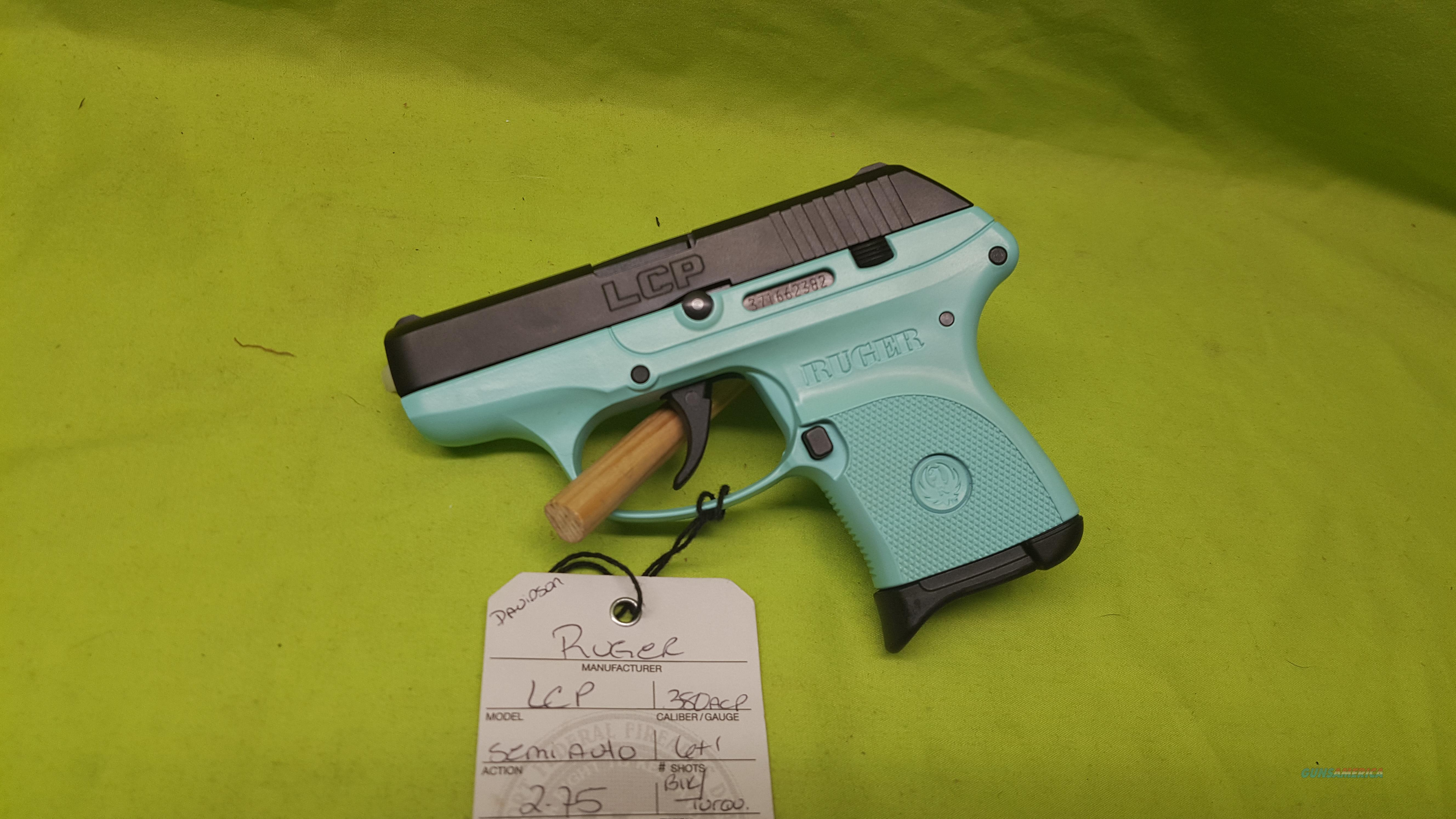 RUGER LCP 380 ACP 380ACP BLK / TURQUOISE 6RD 3746  Guns > Pistols > Ruger Semi-Auto Pistols > LCP