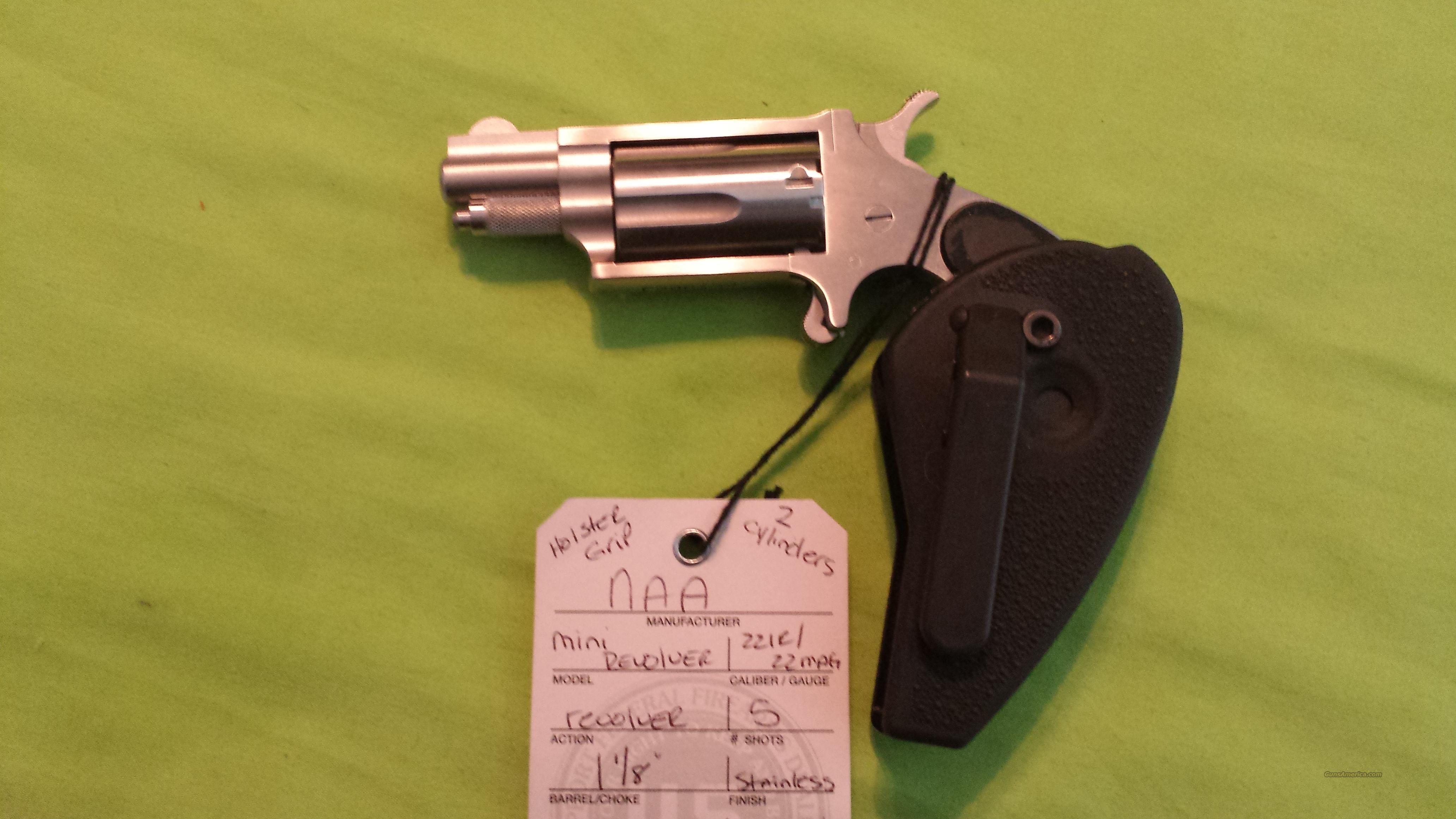 "NAA MINI REVOLVER 1 1/8"" 22 MAG 22 LR SS HG HOLSTER GRIP  Guns > Pistols > North American Arms Pistols"