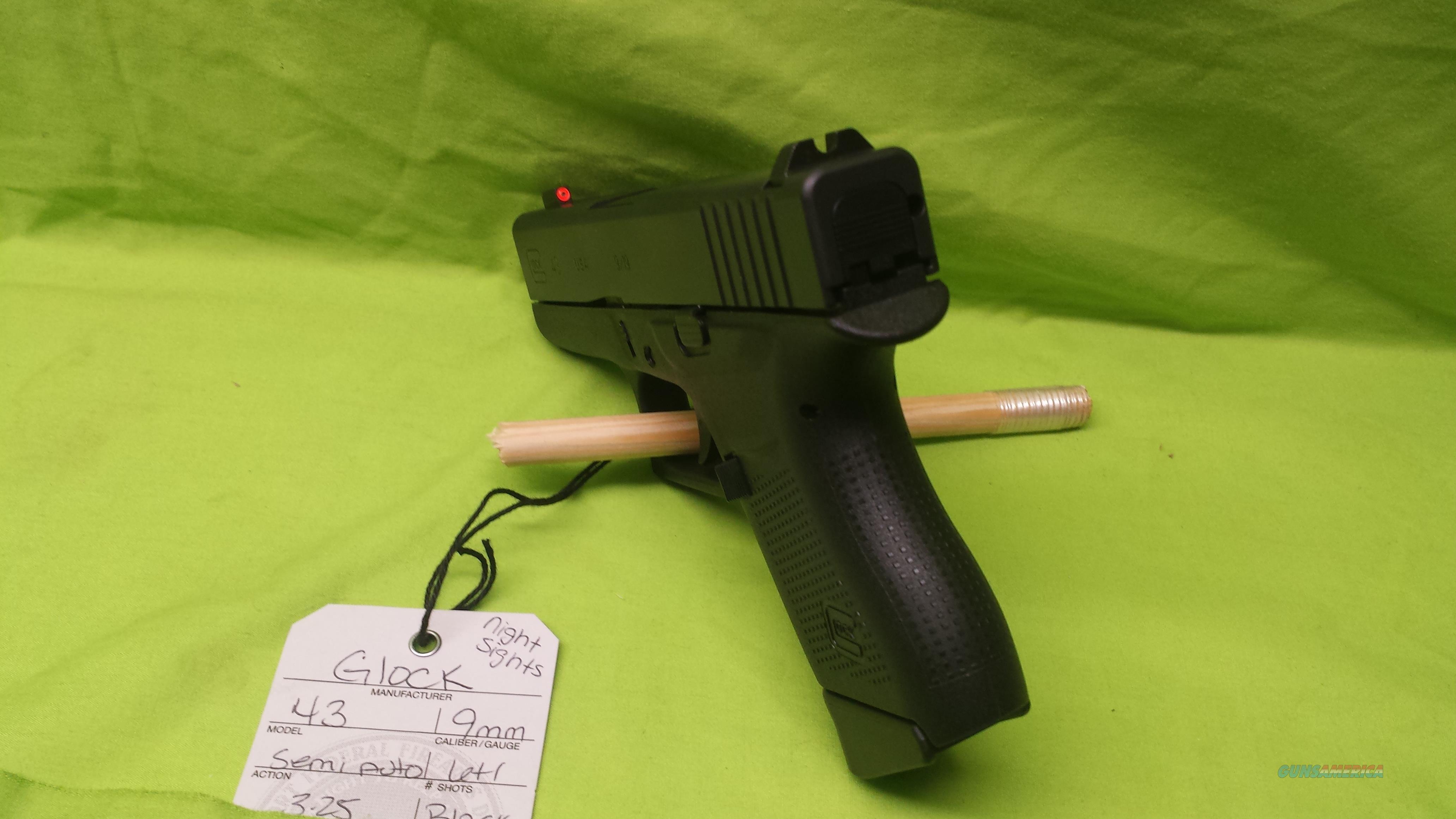 GLOCK 43 9MM 9 MM 6+1 NIGHT SIGHT NS SINGLE STACK  Guns > Pistols > Glock Pistols > 43