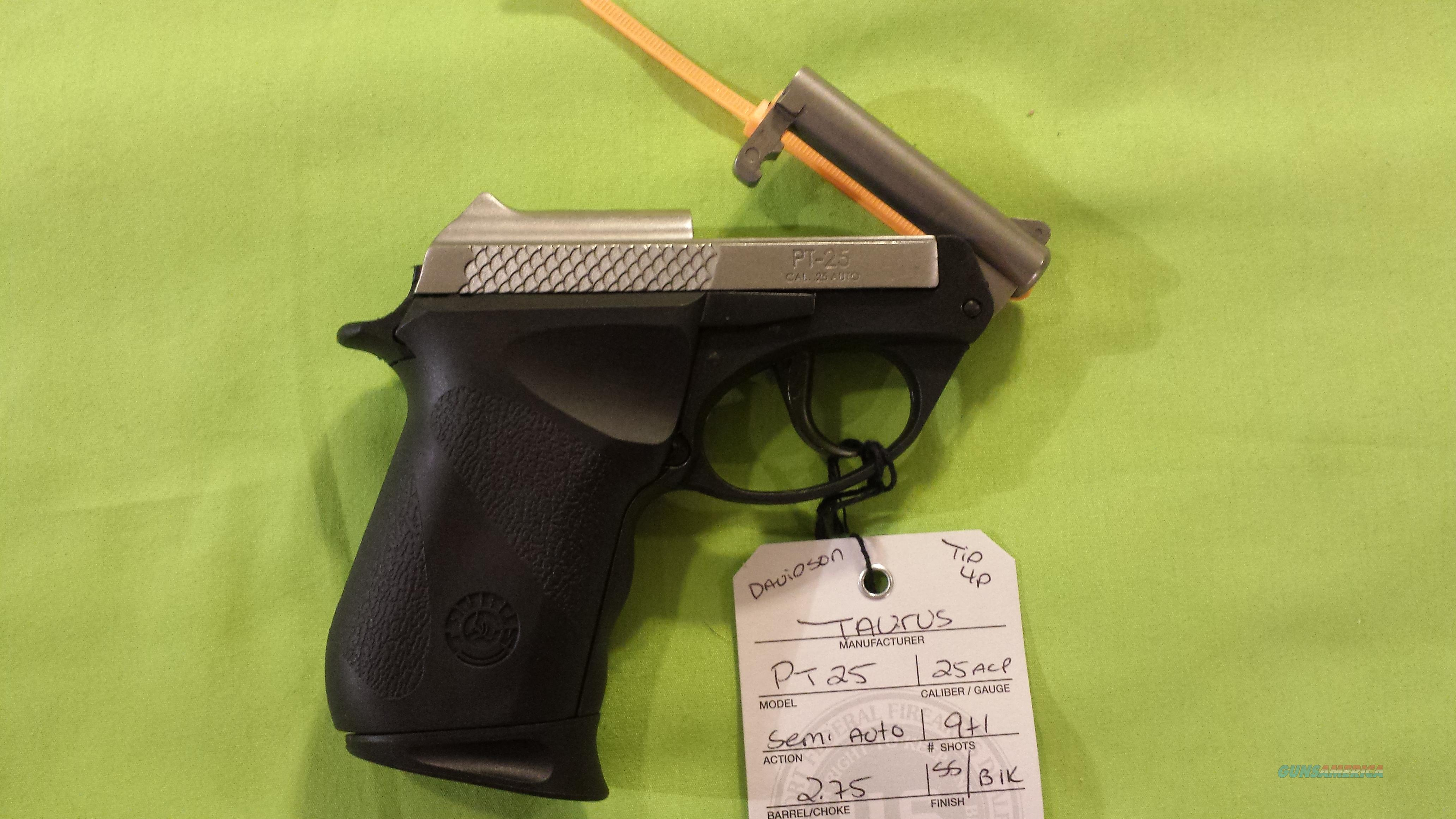 TAURUS PT25 PT 25 25ACP TWO TONE 9RD TIP UP BARREL  Guns > Pistols > Taurus Pistols/Revolvers > Pistols > Polymer Frame