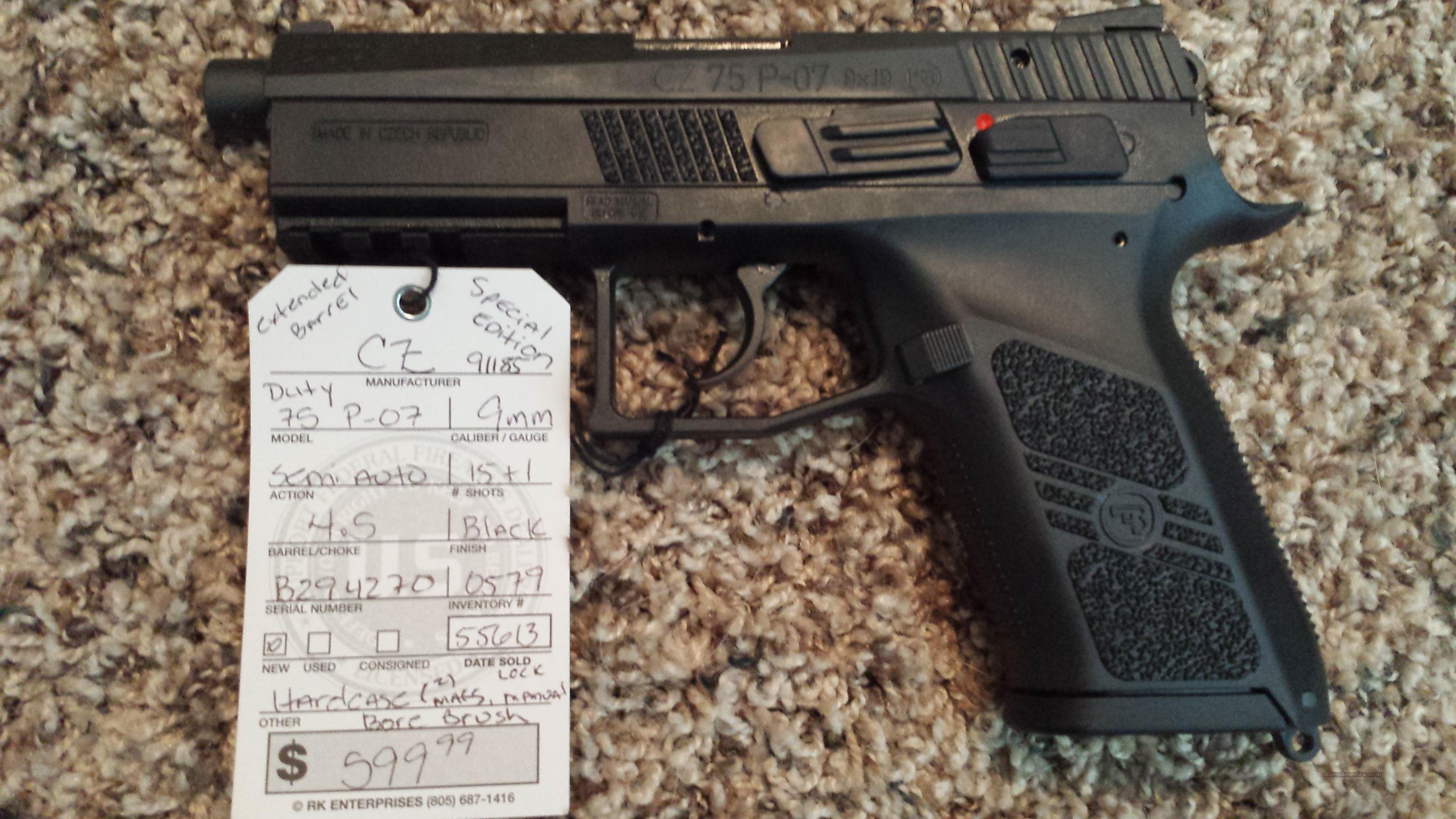 CZ P 07 75 DUTY 9MM 4.5 RARE EXT BARREL 91185  Guns > Pistols > CZ Pistols