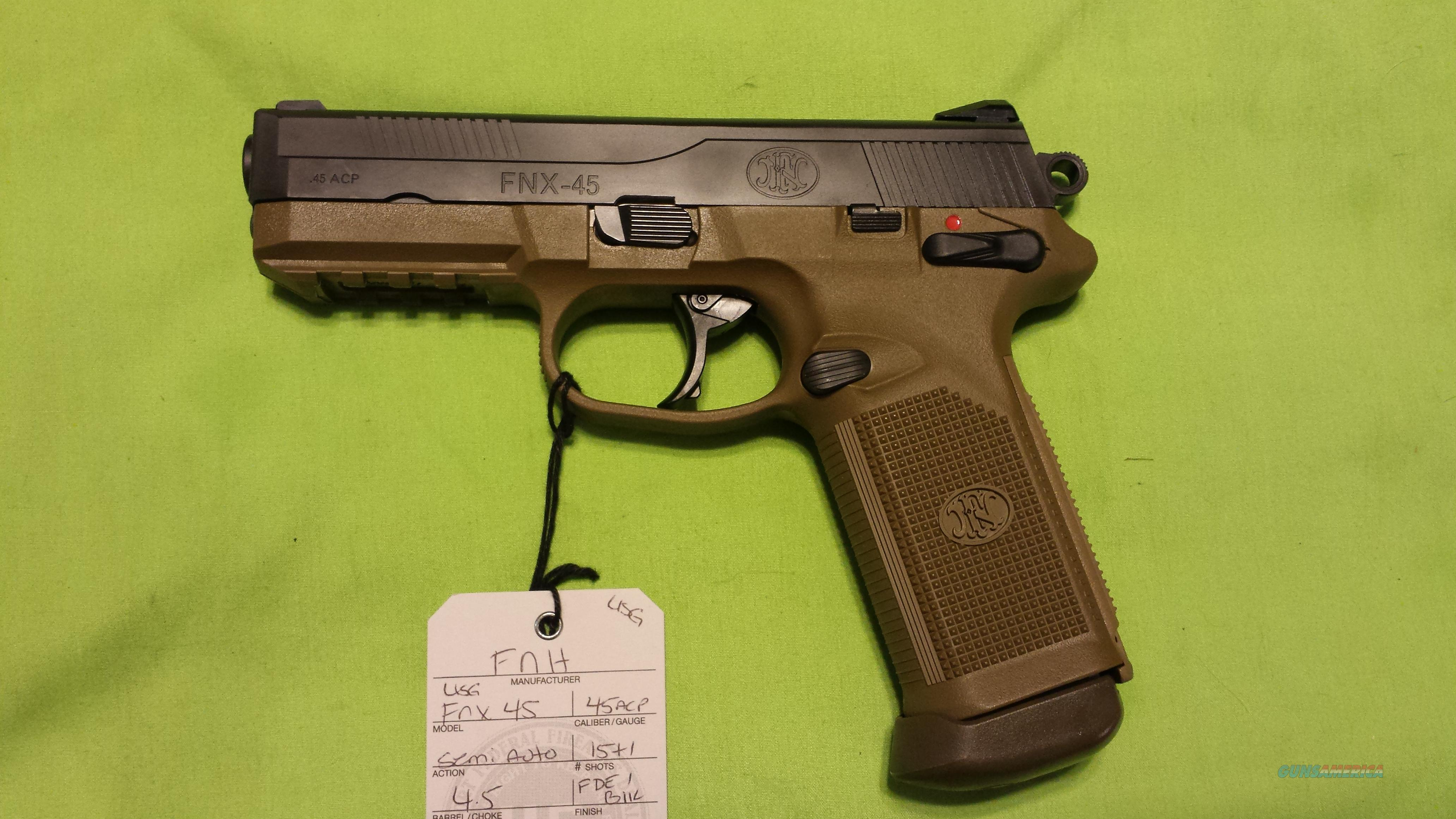 FNH FN FNX 45 USG 45ACP 15RD FDE 3 MAGS  Guns > Pistols > FNH - Fabrique Nationale (FN) Pistols > FNX