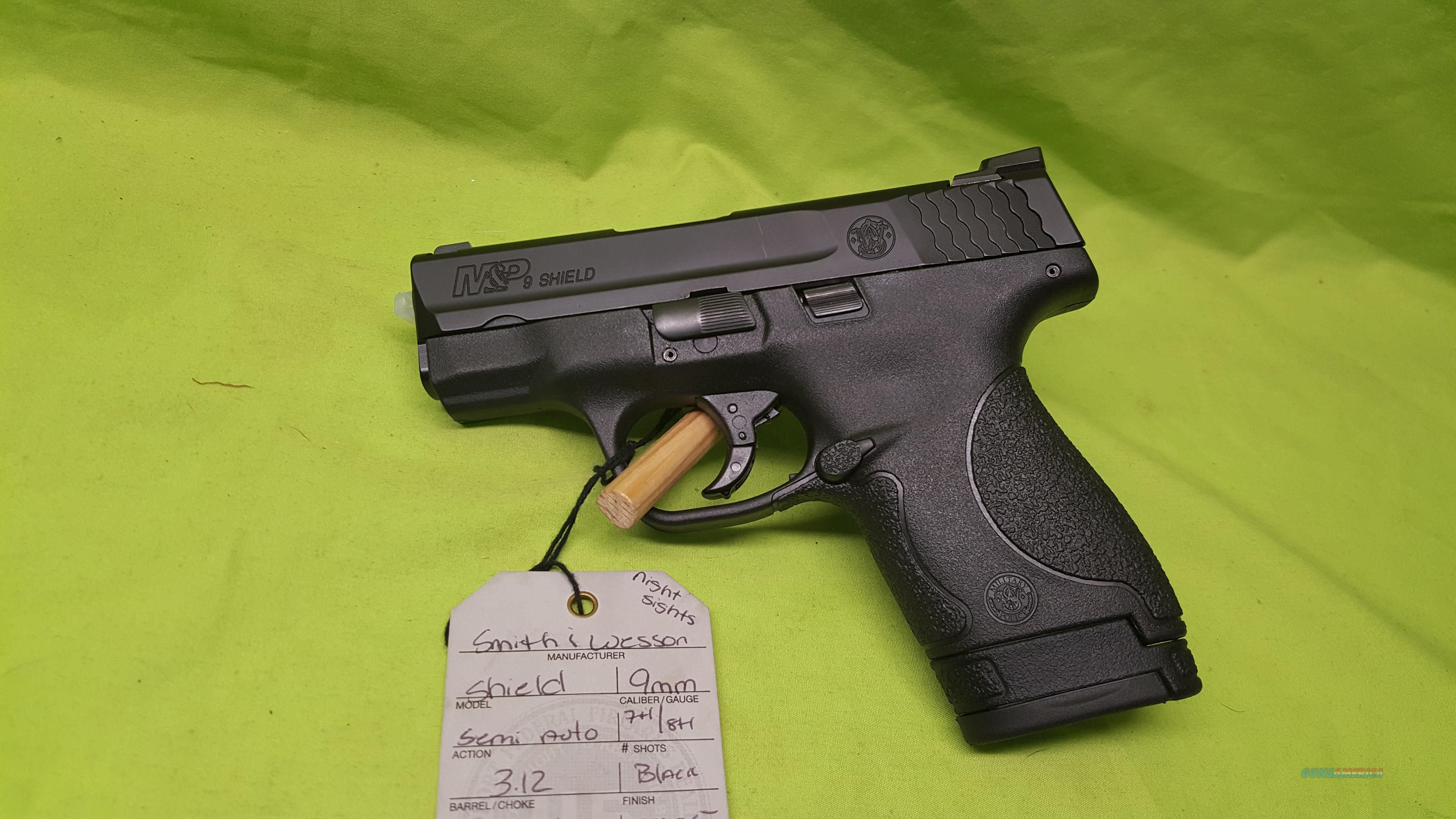SMITH & WESSON M&P 9 SHIELD 9MM 7/8RD NIGHT SIGHTS  Guns > Pistols > Smith & Wesson Pistols - Autos > Shield