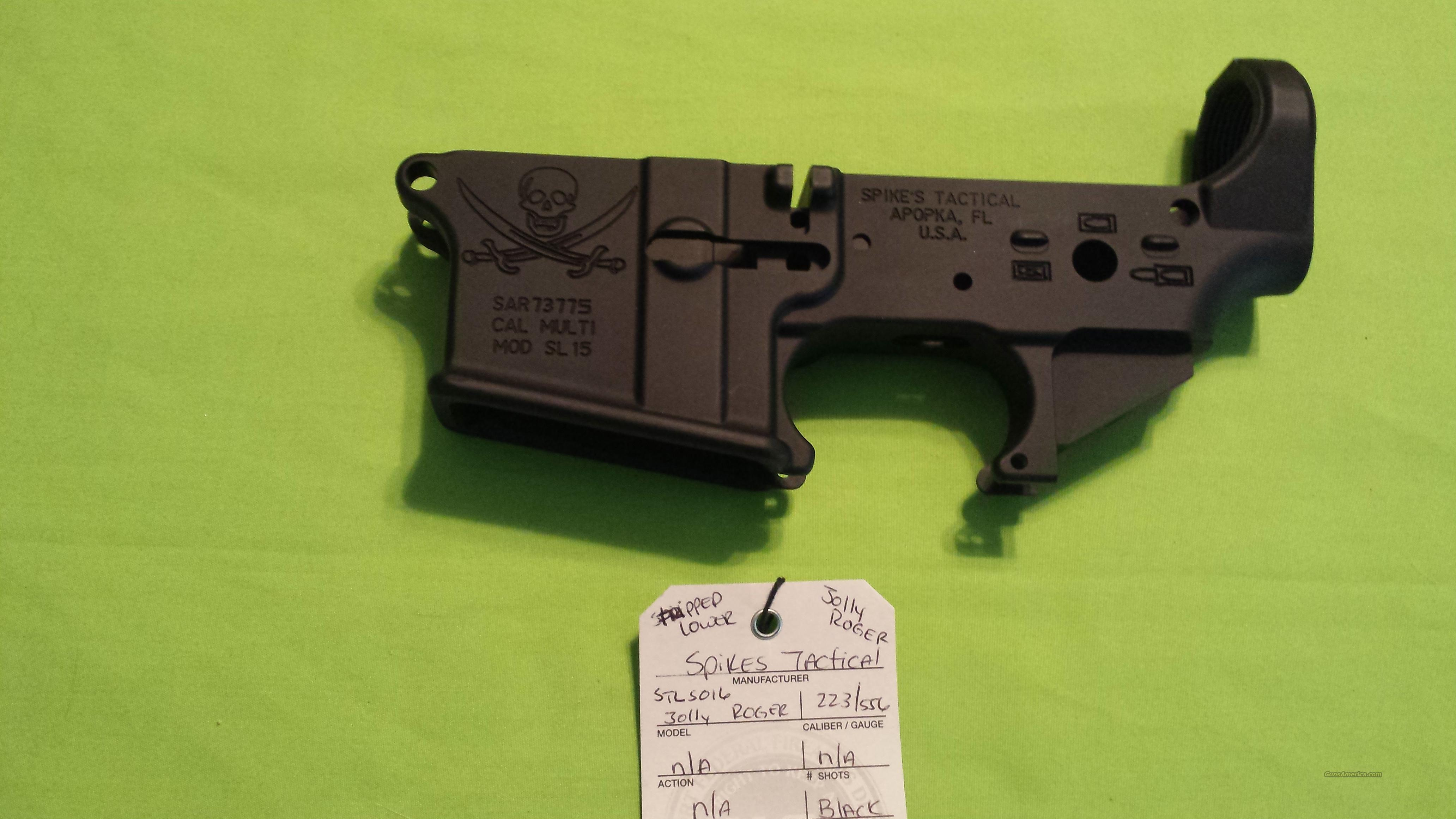 SPIKES STRIPPED LOWER JOLLY ROGER AR15 5.56 223  Guns > Rifles > AR-15 Rifles - Small Manufacturers > Lower Only