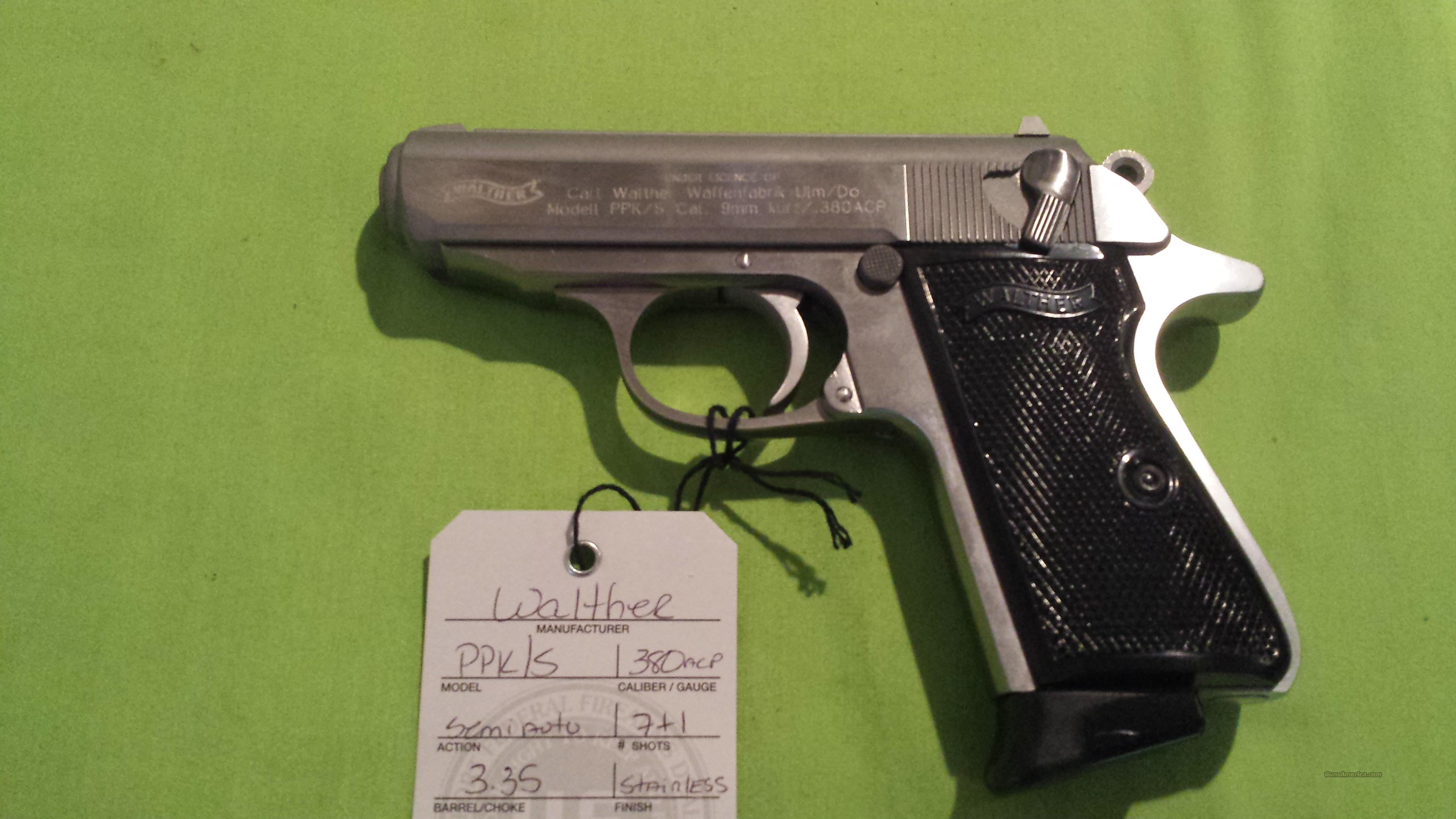 "WALTHER PPK/S PPKS 380ACP 3.35"" STAINLESS 7RD  Guns > Pistols > Walther Pistols > Post WWII > PPK Series"