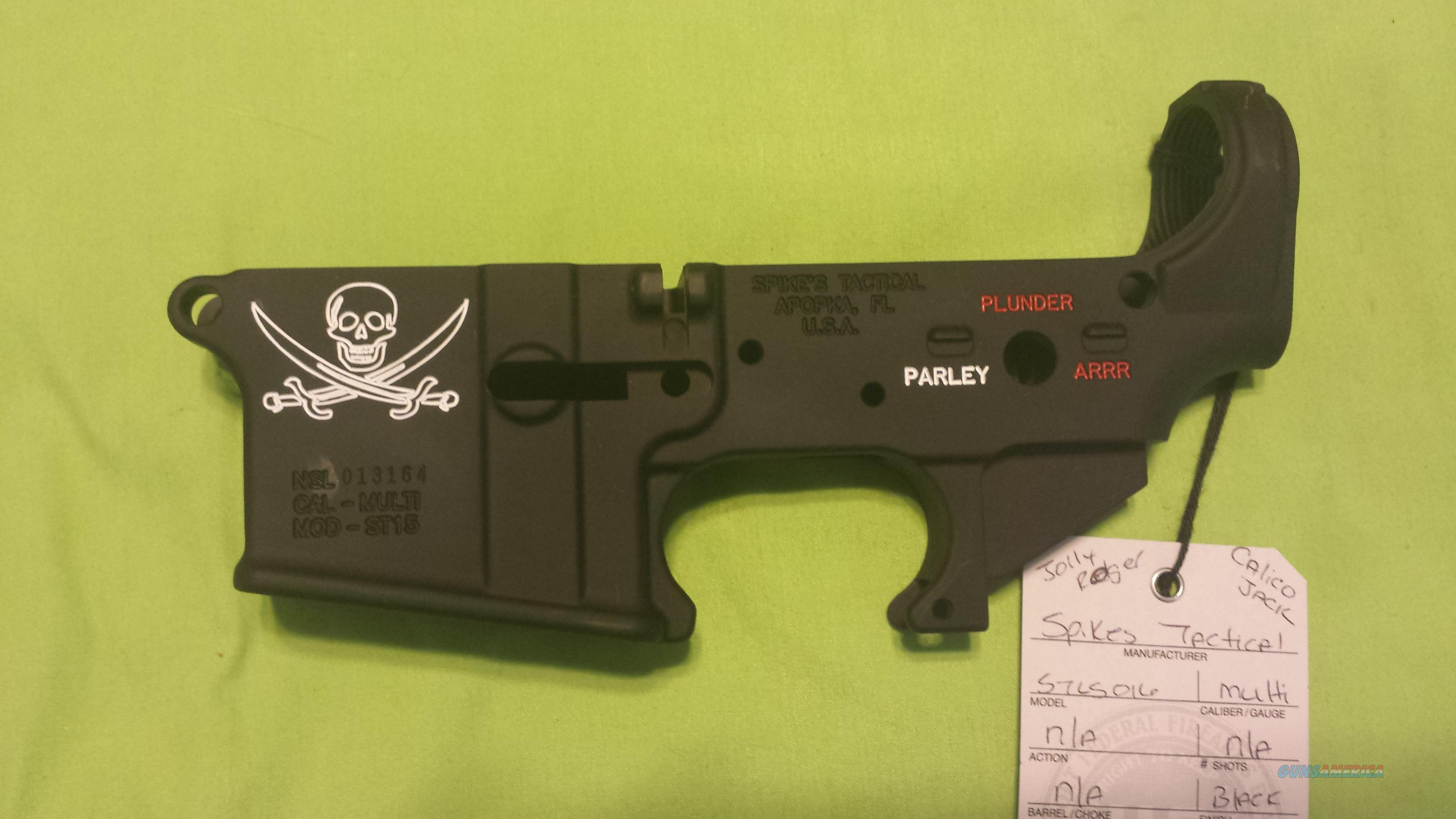 SPIKES STRIPPED LOWER JOLLY ROGER COLOR AR15 5.56 223  Guns > Rifles > AR-15 Rifles - Small Manufacturers > Lower Only