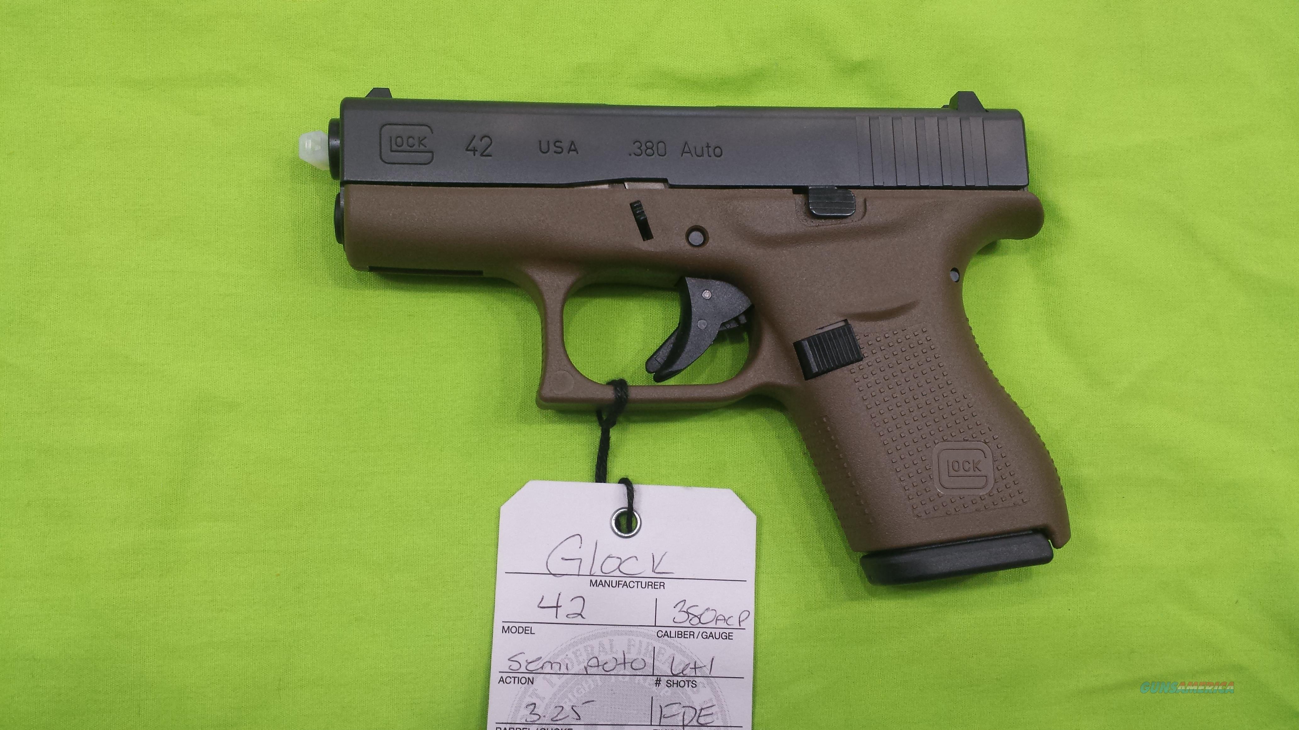 GLOCK 42 .380ACP 380 SUB COMPACT 6RD FDE  Guns > Pistols > Glock Pistols > 42