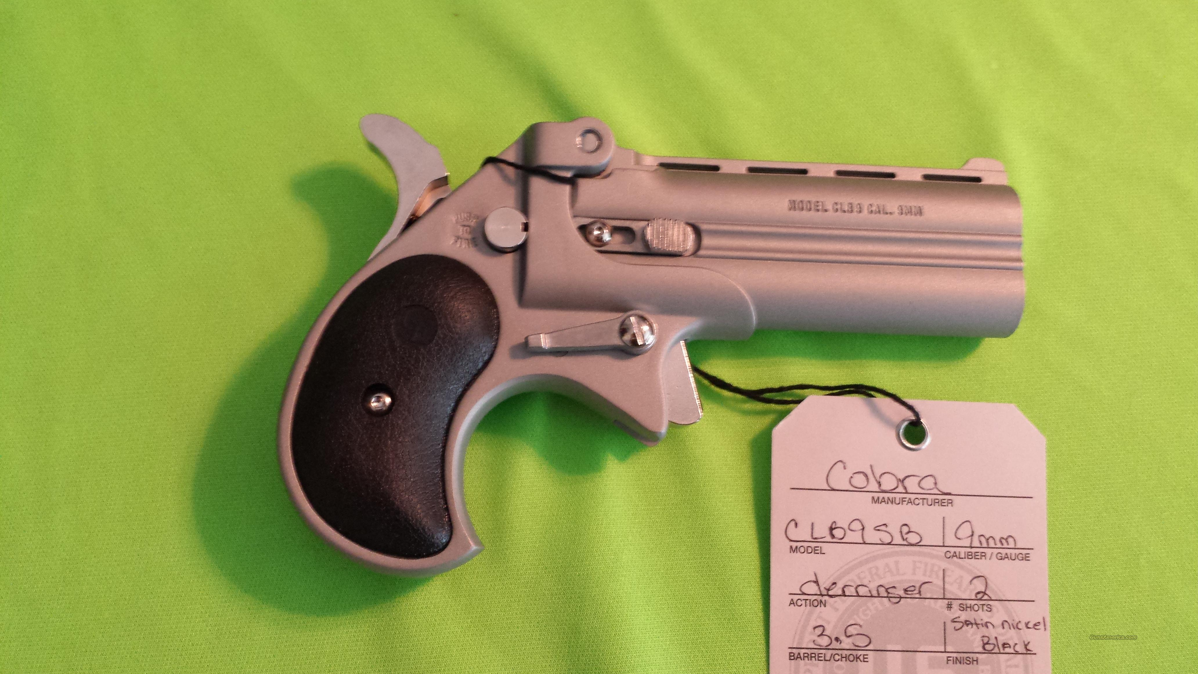 "COBRA LONG BORE DERRINGER 3.5"" 9MM SATIN NICKEL BLACK  Guns > Pistols > Cobra Derringers"
