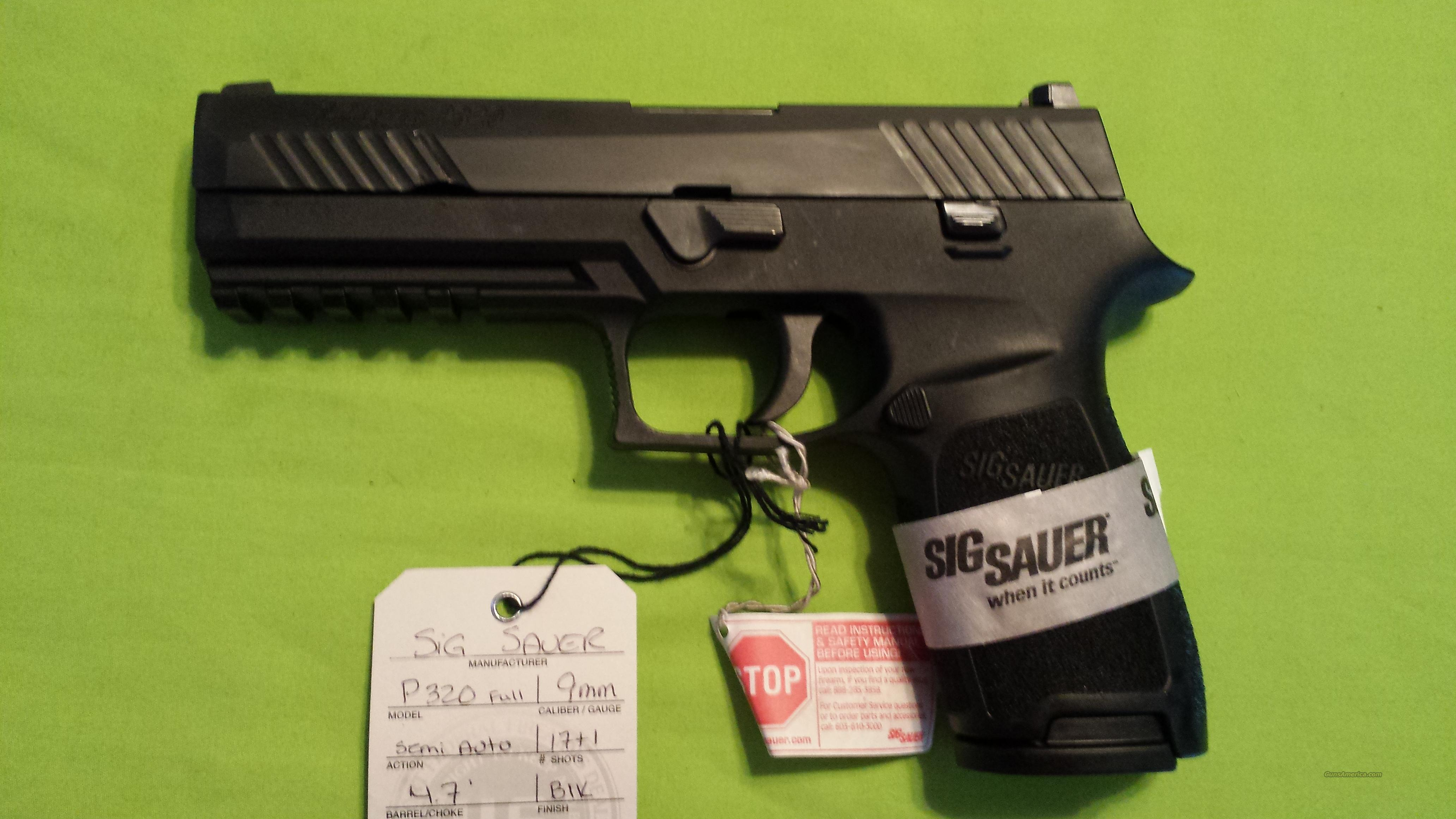 "SIG SAUER P320 FULL 9MM 4.7"" 17RD BLK NIGHT SIGHTS  Guns > Pistols > Sig - Sauer/Sigarms Pistols > Other"