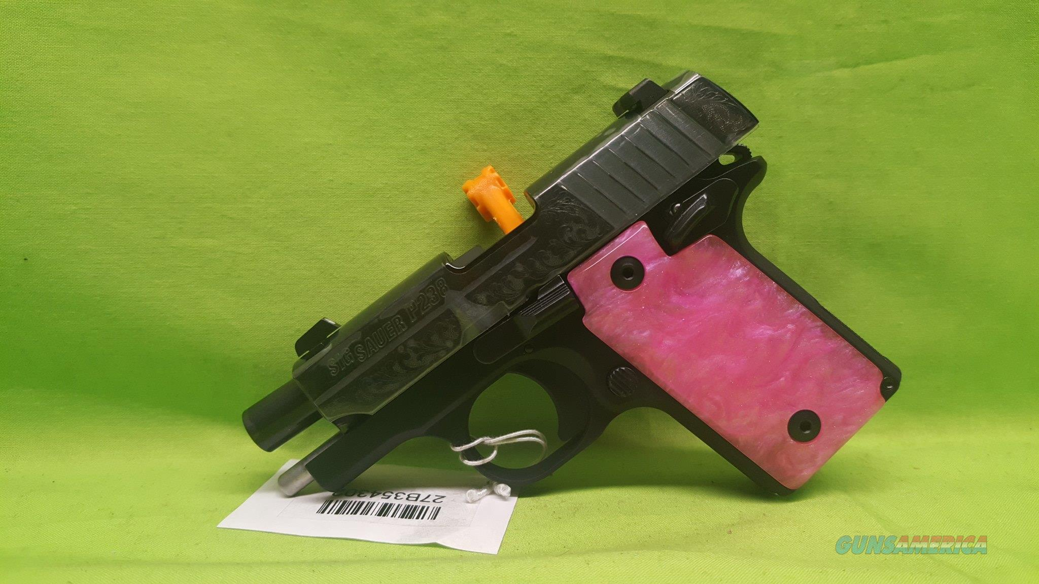 SIG SAUER P238 238 380ACP 6RD BLACK PINK ENGRAVED  Guns > Pistols > Sig - Sauer/Sigarms Pistols > P238