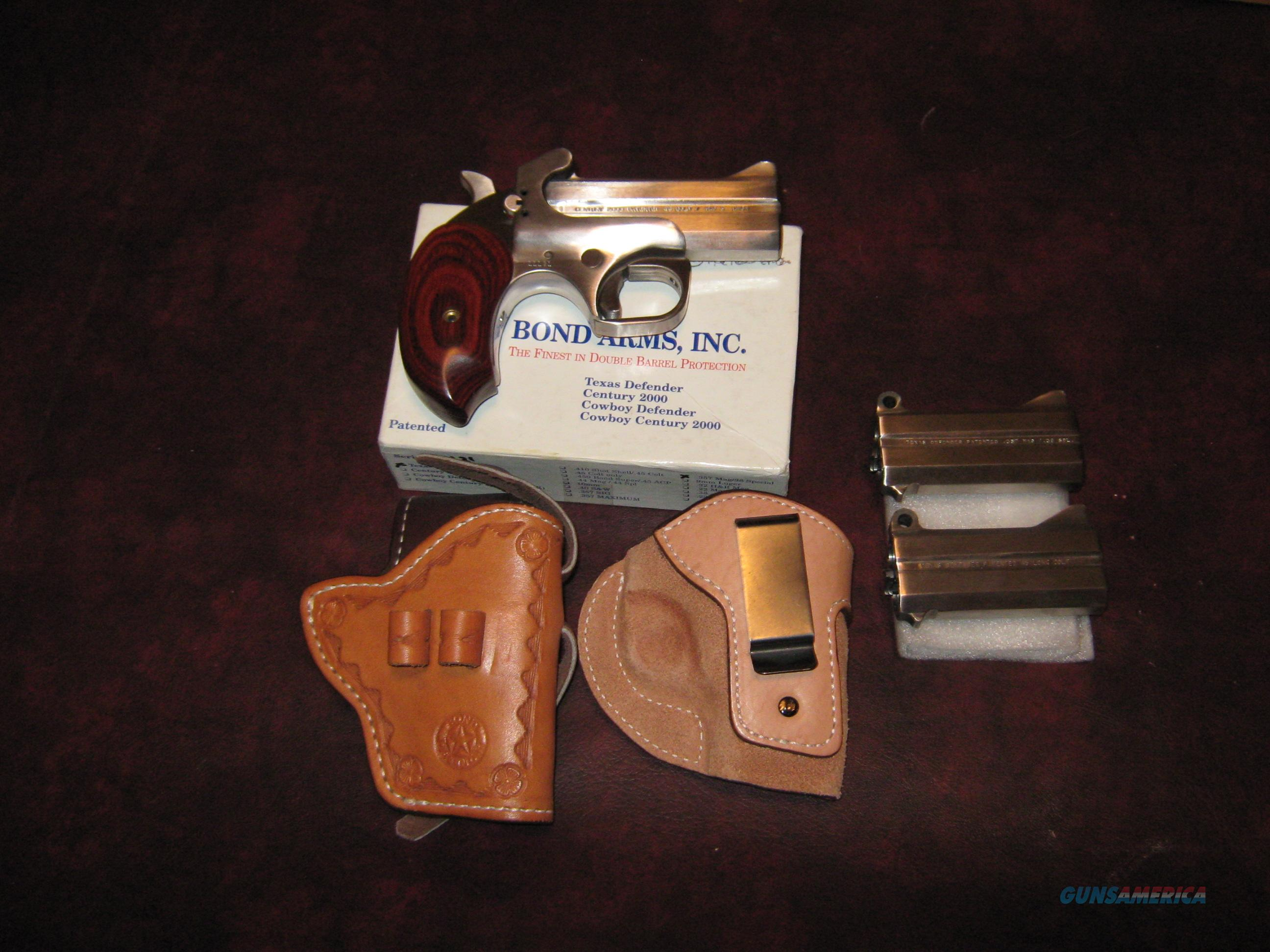 LIKE NEW BOND ARMS DERRINGER 3 BARRELS 2 HOLSTERS  Guns > Pistols > Bond Derringers