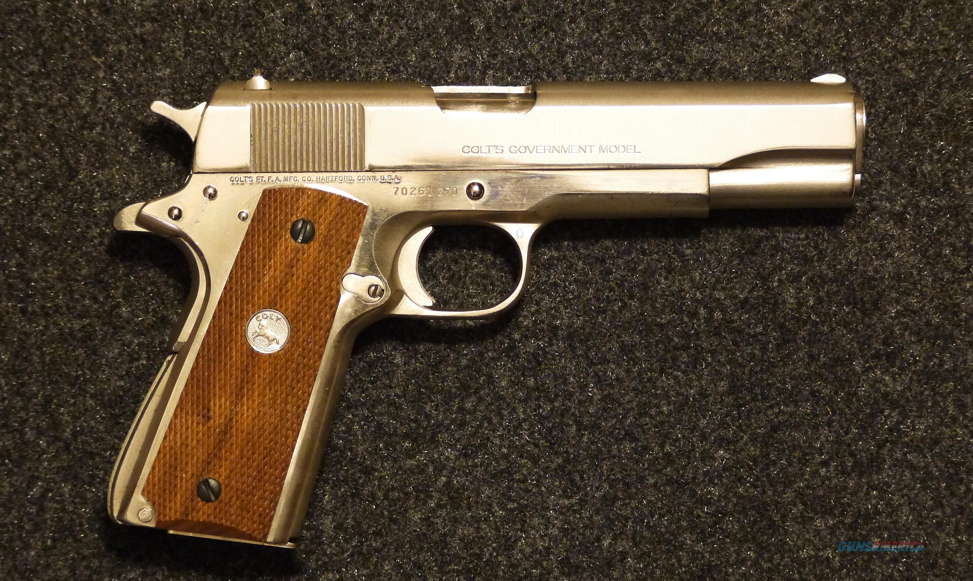 45 Cal. COLT 1911 MKIV Series 70 With Rare Factory Nickel Finish.  Guns > Pistols > Colt Automatic Pistols (1911 & Var)