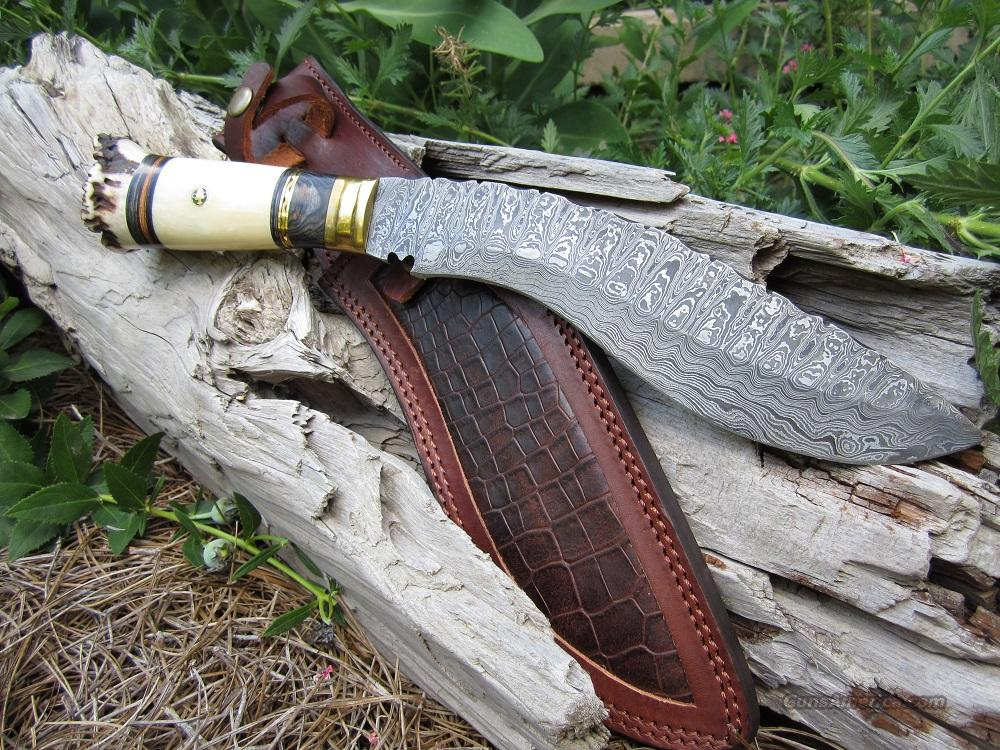 Damascus Kukri with Stag and Camel Bone Handle  Non-Guns > Knives/Swords > Knives > Fixed Blade > Hand Made