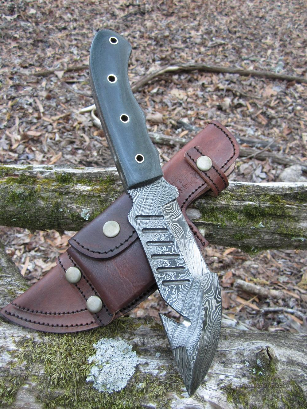 Damascus Tracker Survival Knife with Scout Style Sheath  Non-Guns > Knives/Swords > Knives > Fixed Blade > Hand Made