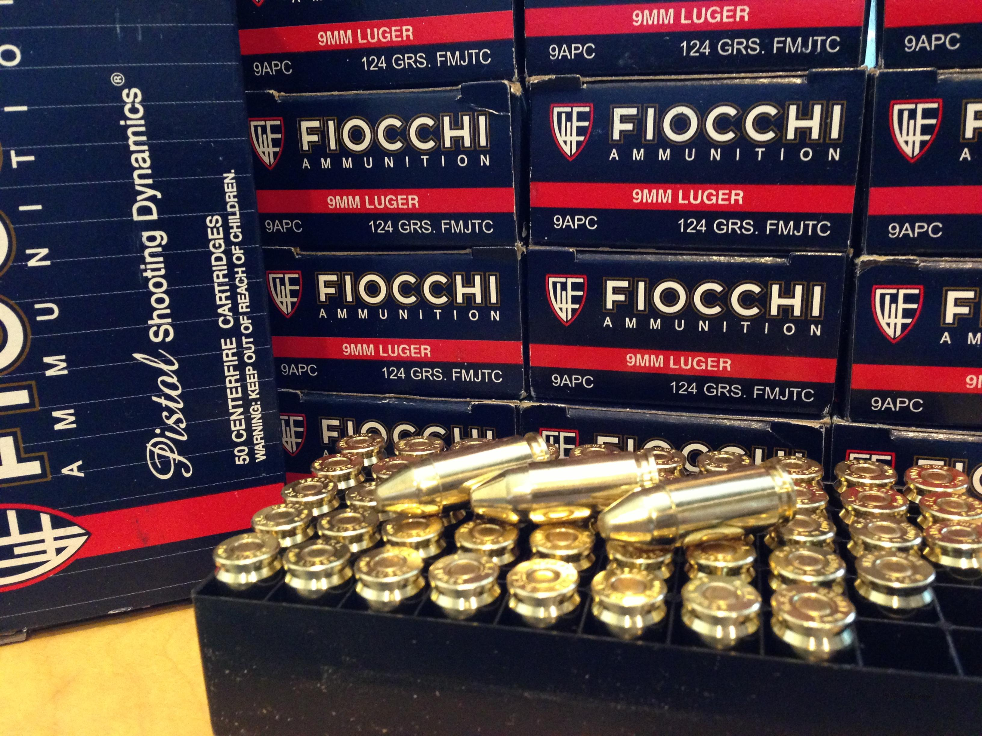 9mm 250 rounds 124 Gr.  FIOCCHI Ammo Boxes of 50 Rounds not 223 556 40 45 308 38   Non-Guns > Ammunition