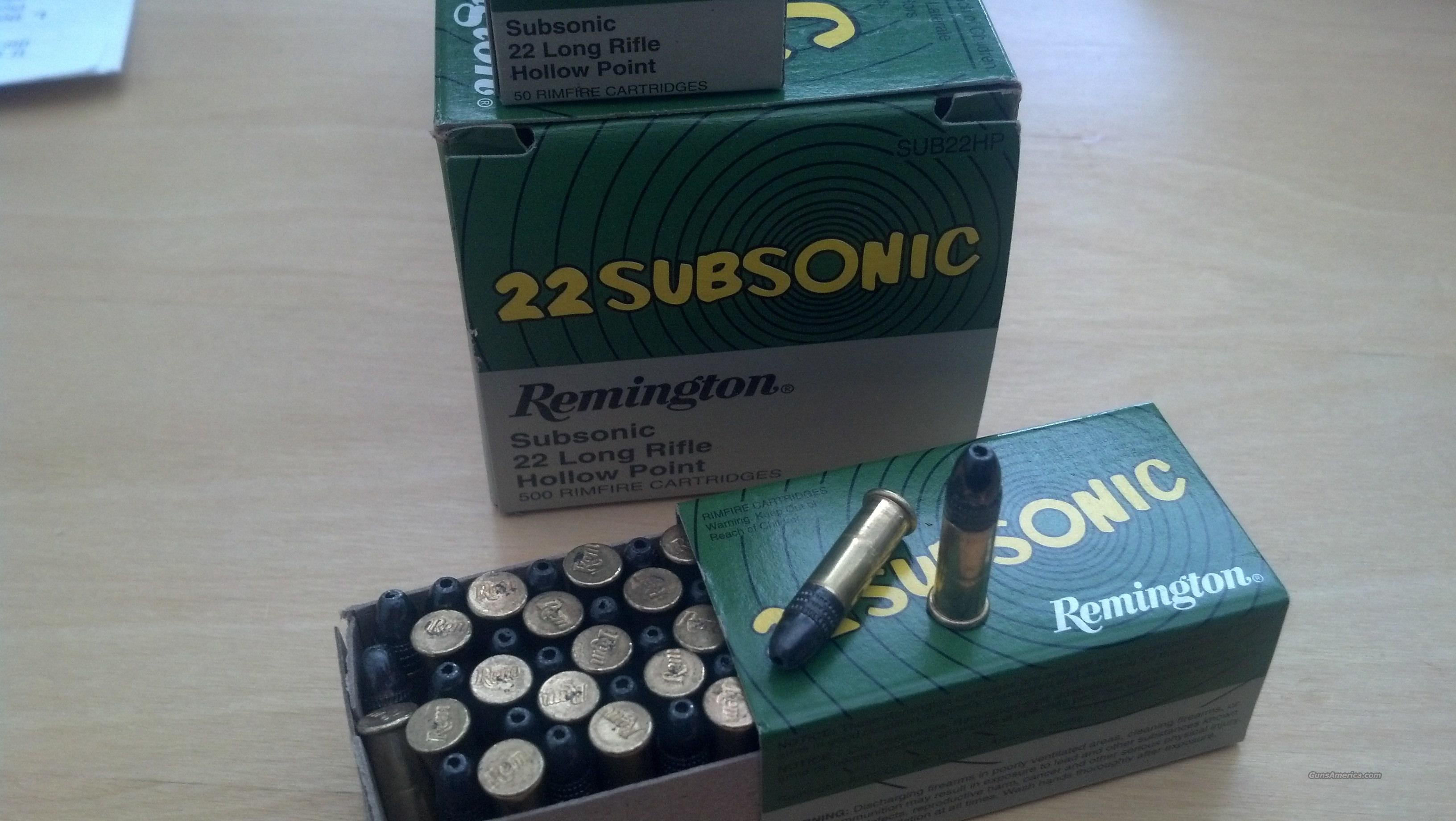 22LR 500 Round Brick Remington Subsonic 22 Long High Velocity Hollow Point  Non-Guns > Ammunition