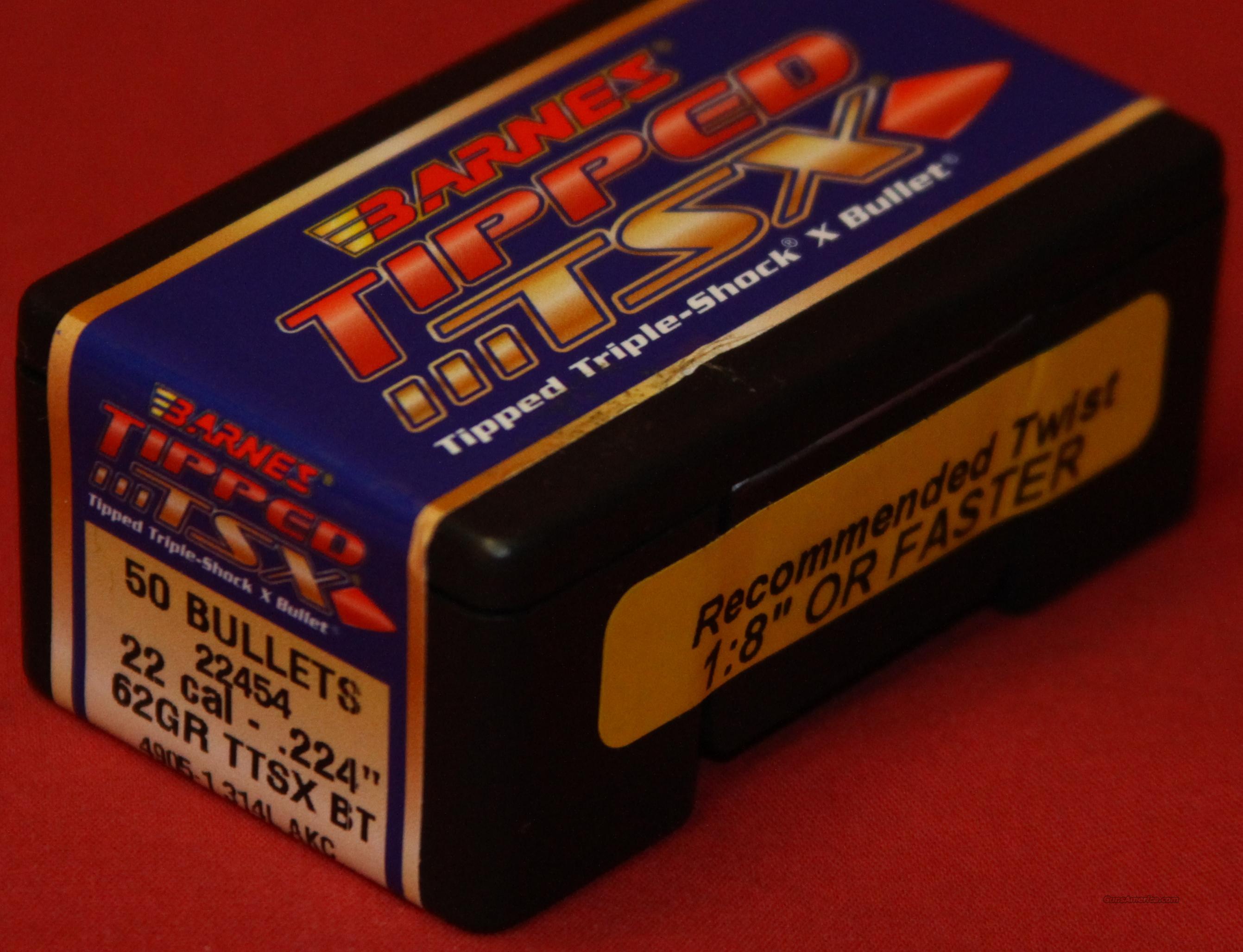 Barnes 62gr. TTSX BT .224 bullets. for sale