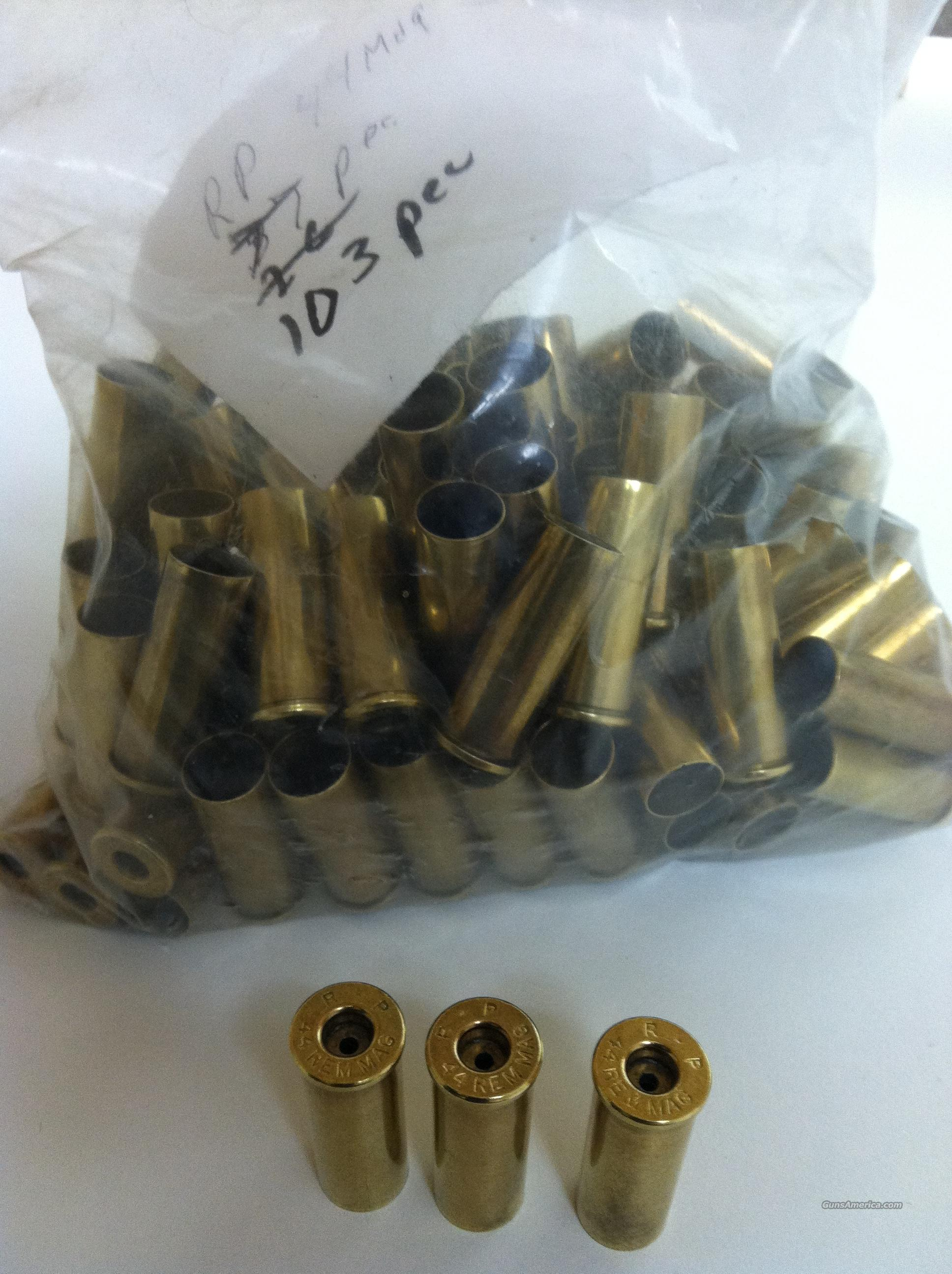 100 44 Mag Rem Pistol Brass for Reloading: Cleaned and Deprimed - Like New! - Mixed Cleaned Deprimed 44 Remington Magnum Brass  Non-Guns > Reloading > Components > Brass