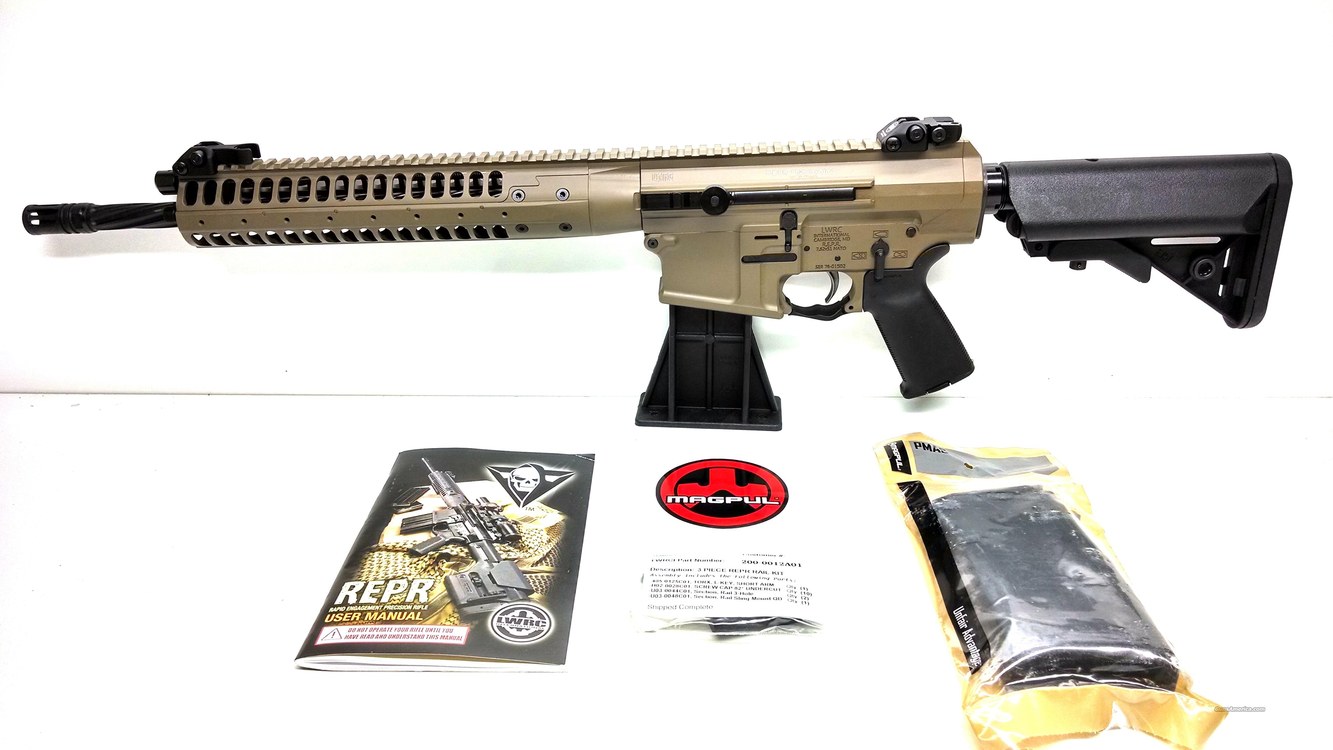"LWRCI REPR 7.62NATO 16"" SPIRAL FLUTED BARREL FDE - NO CC FEE  Guns > Rifles > Tactical/Sniper Rifles"