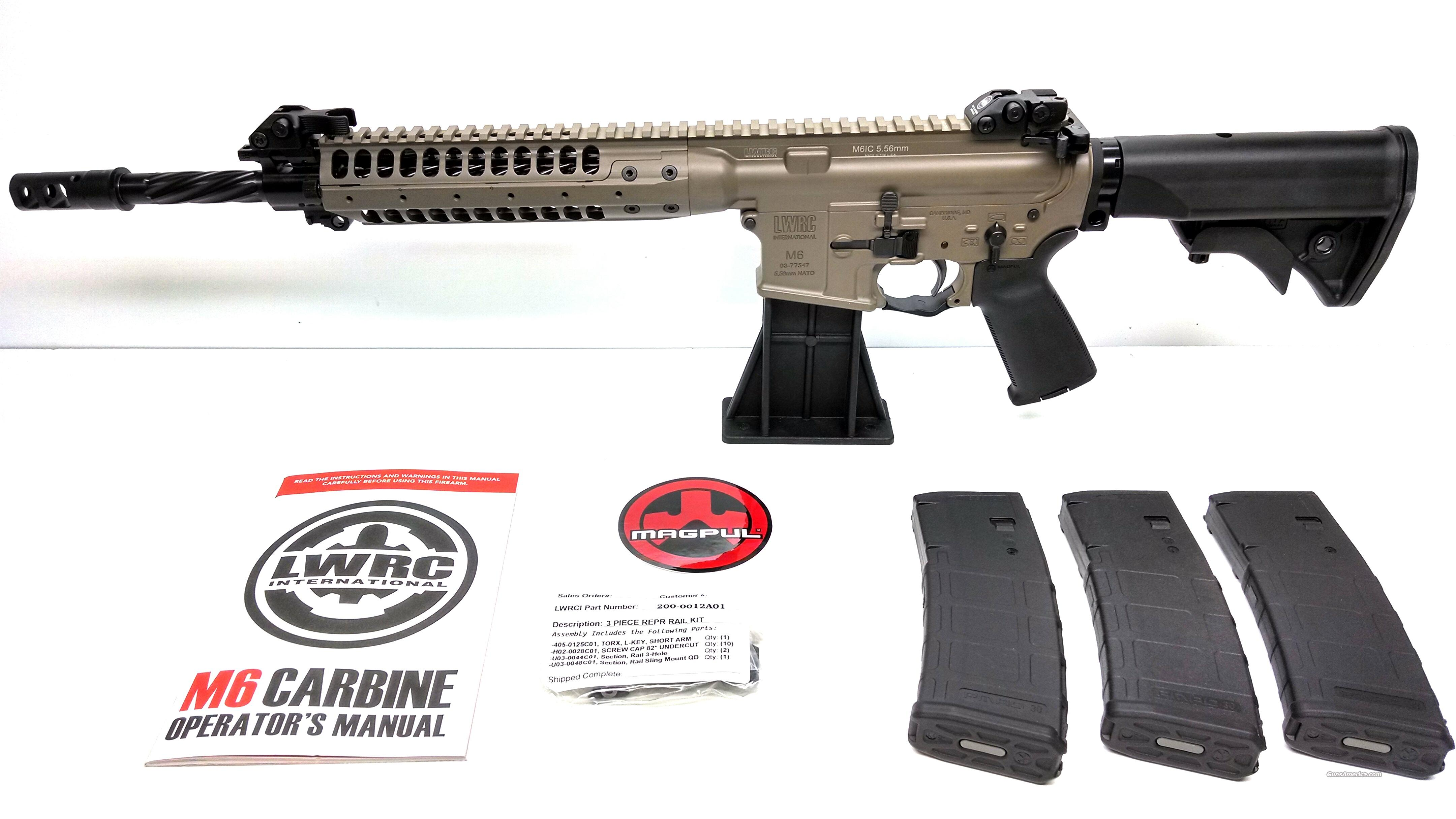 "LWRC M6 IC Enhanced 5.56 NATO 14.7"" Spiral Barrel FDE - Surefire Muzzle Brake  Guns > Rifles > Tactical Rifles Misc."