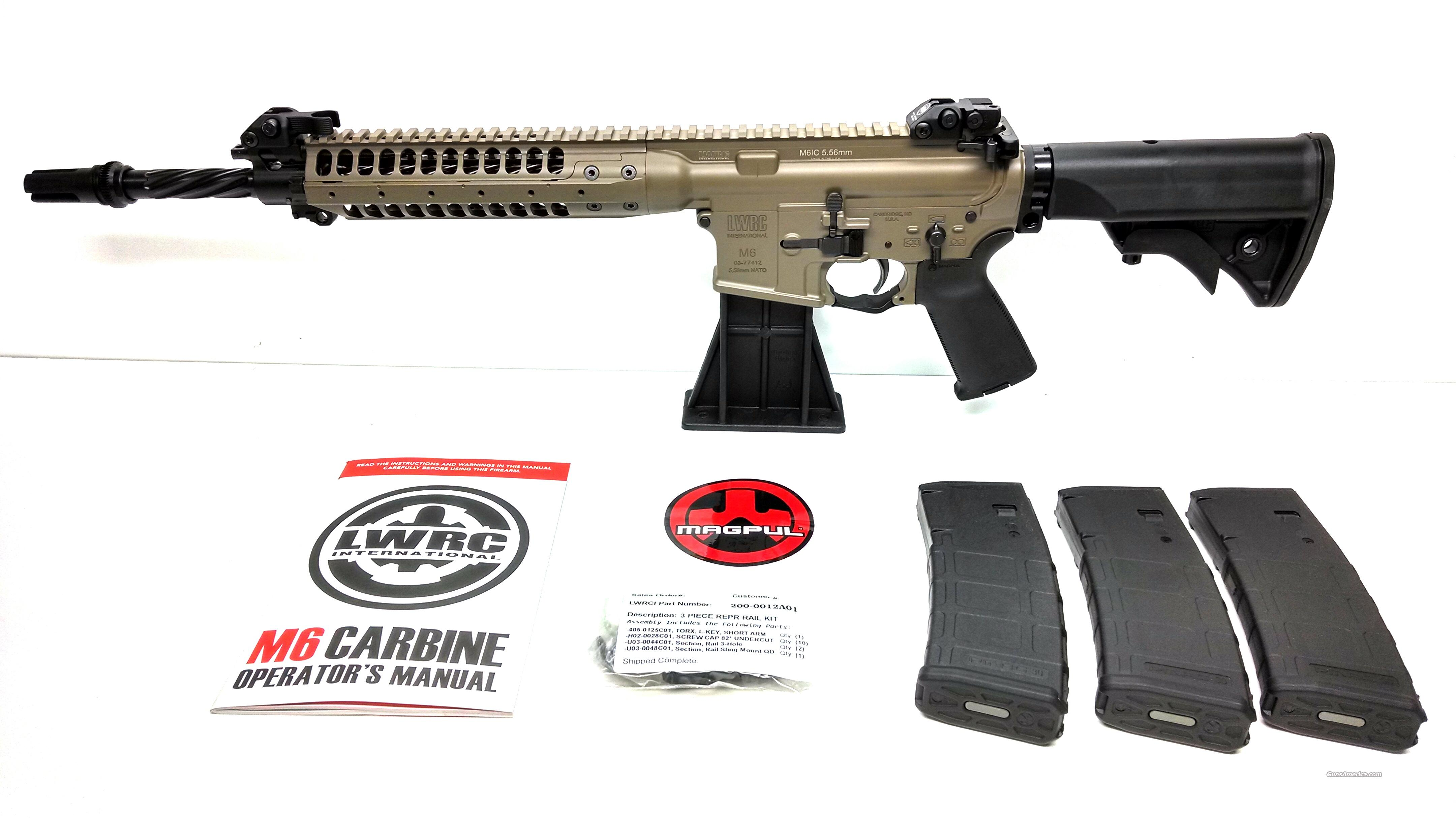 "LWRC M6 IC Enhanced 5.56NATO 14.7"" Spiral FDE - ACC 51T Blackout Flash Hider - NO CC FEE  Guns > Rifles > Tactical Rifles Misc."
