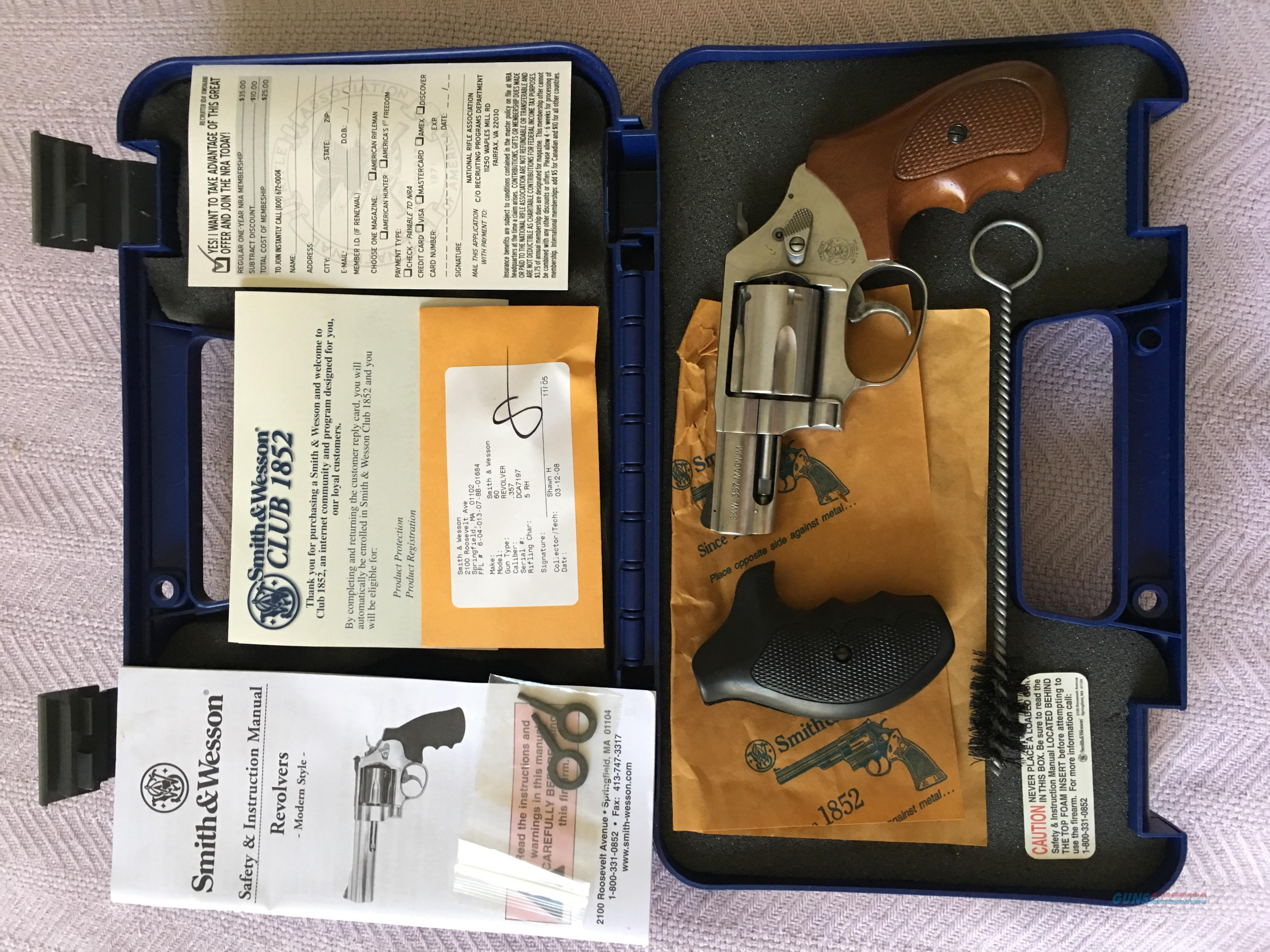 Smith & Wesson Model 60 .357 Magnum Stainless Steel   Guns > Pistols > Smith & Wesson Revolvers > Small Frame ( J )