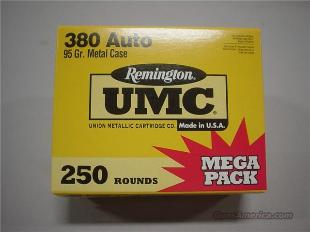 250 Rounds Remington UMC 380 Auto Mega Pack 95gr  Non-Guns > Ammunition
