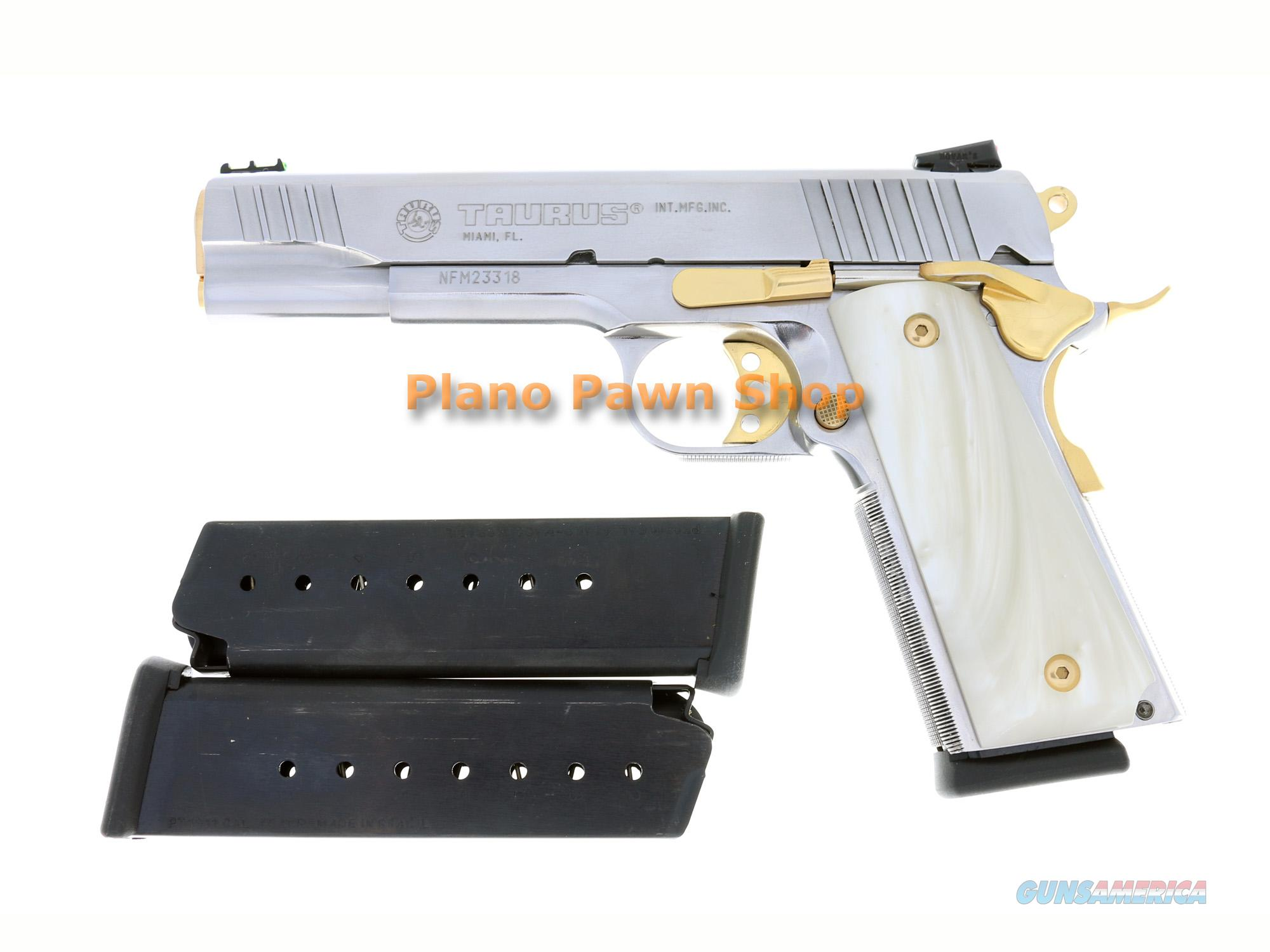 Taurus Model PT1911 .45ACP Stainless with Gold Accents & 3 Mags  Guns > Pistols > Taurus Pistols/Revolvers > Pistols > Steel Frame
