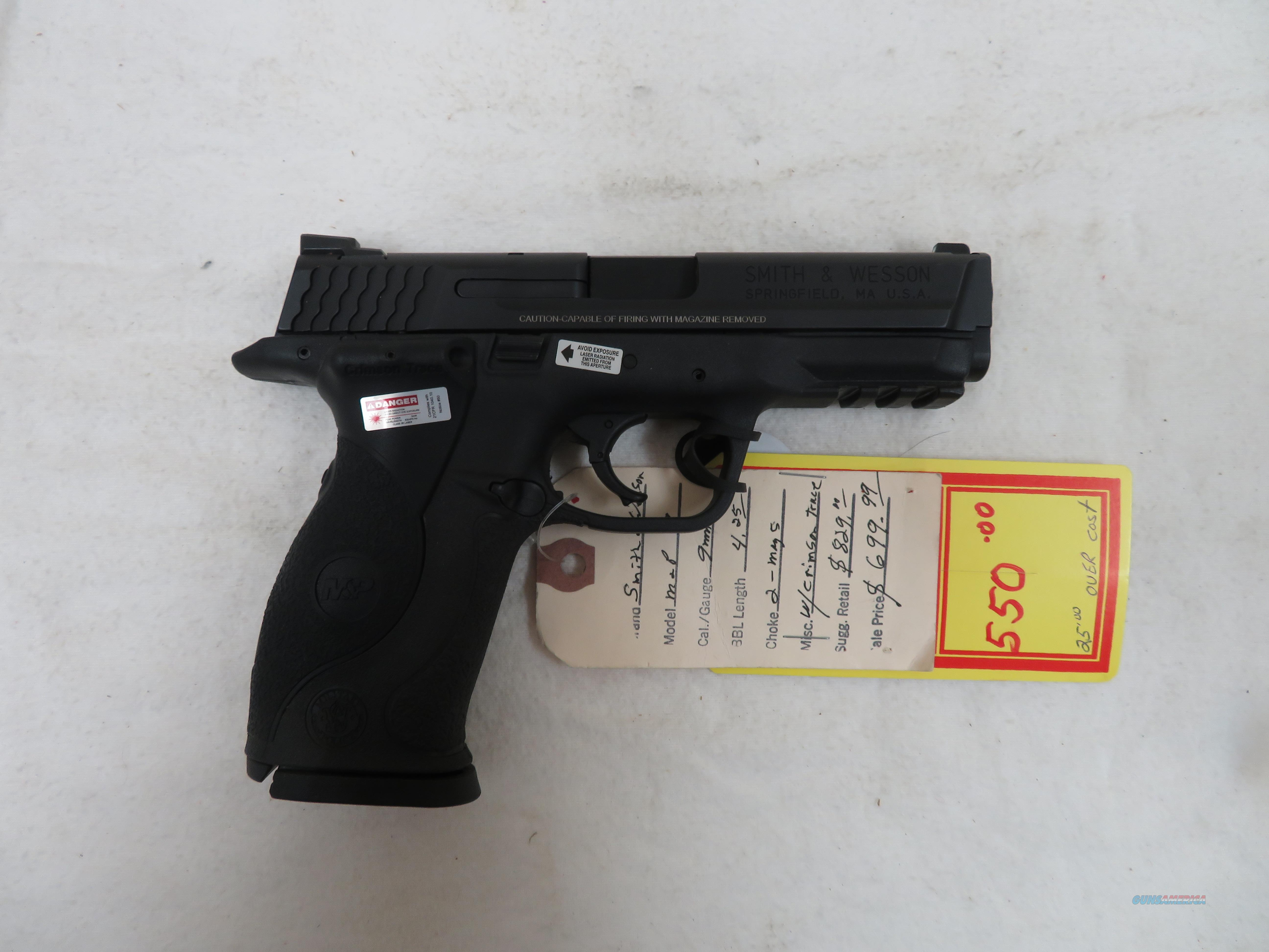 """SMITH & WESSON M&P9 WITH CRIMSON TRACE 9MM 4.25""""  Guns > Pistols > Smith & Wesson Pistols - Autos > Polymer Frame"""
